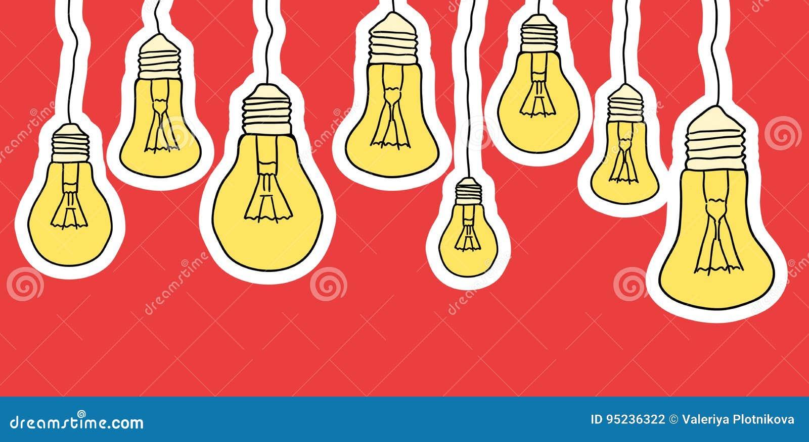 垂悬电灯泡的动画片的线性例证
