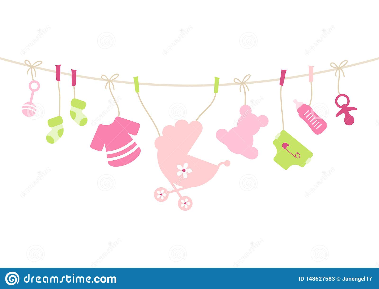 垂悬的婴孩象女孩弓桃红色和绿色