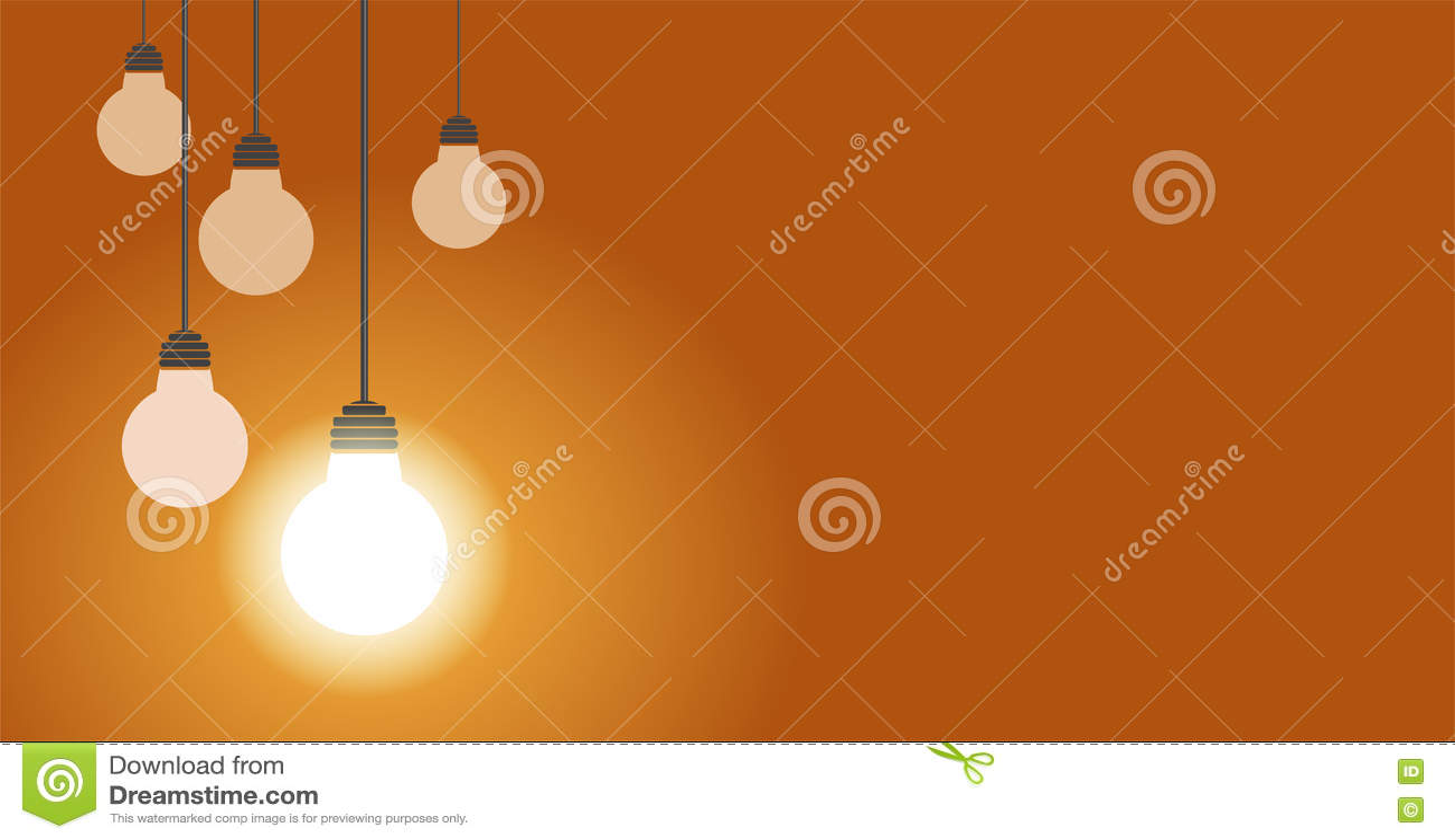 垂悬的电灯泡他们中的一个焕发,例证