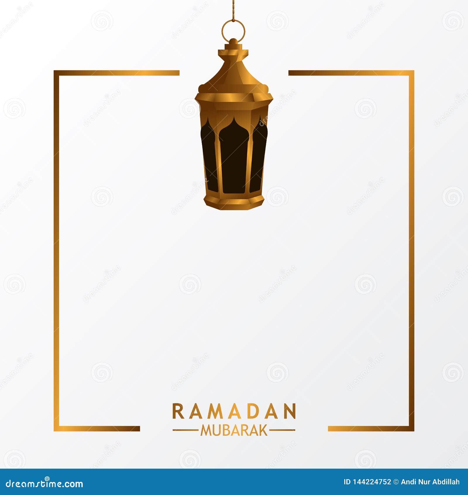 垂悬的金黄现实豪华灯笼灯有伊斯兰教的事件的白色背景