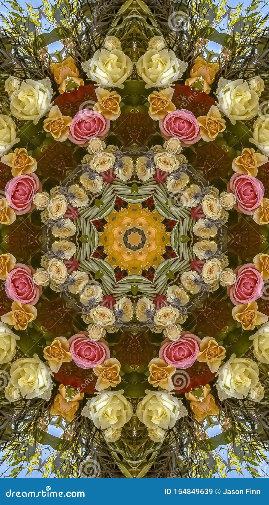 垂直的与一个温暖的颜色塑象的框架圆婚礼花设计