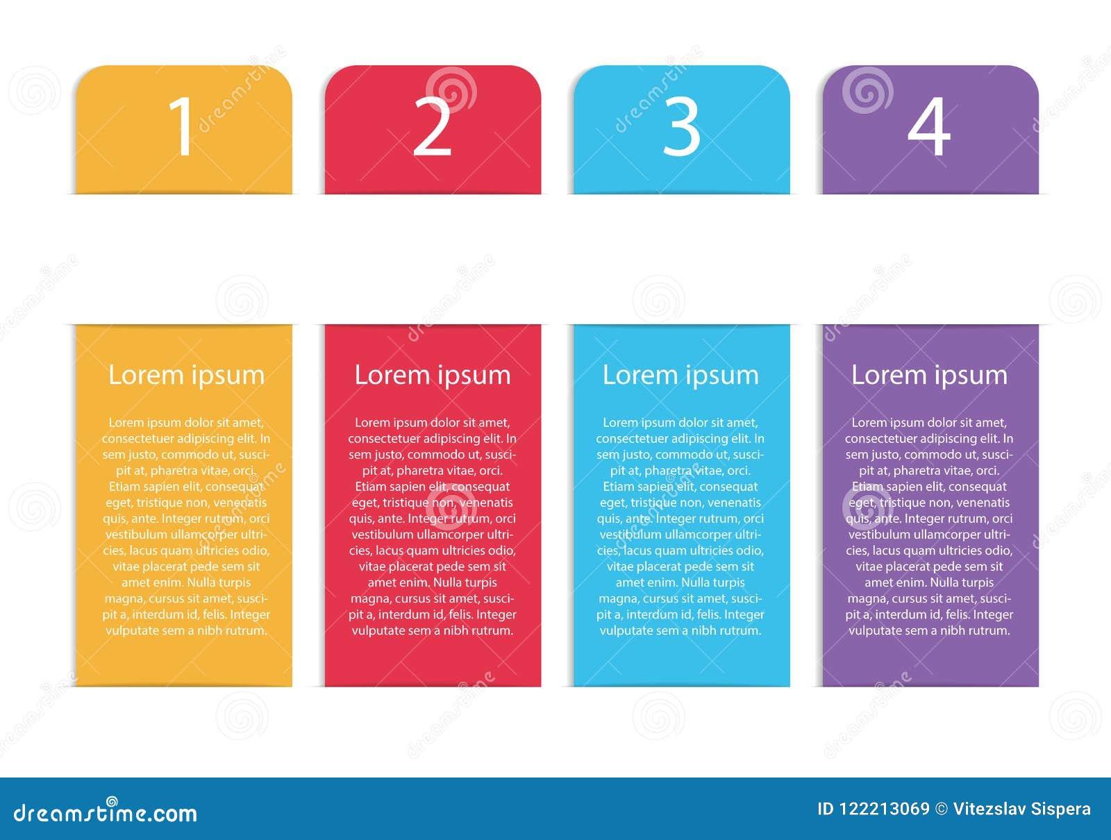 垂直的与四s的传染媒介现代五颜六色的infographic模板