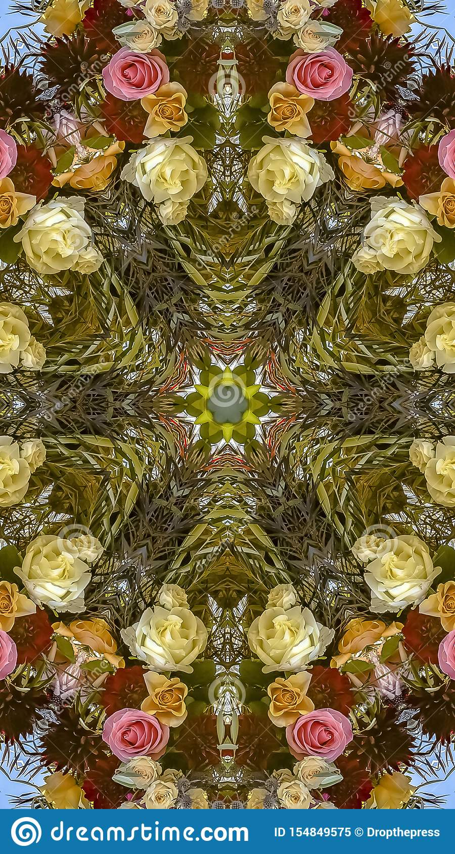 垂直的在婚礼的框架五颜六色的花卉设计被创造入一个装饰背景设计
