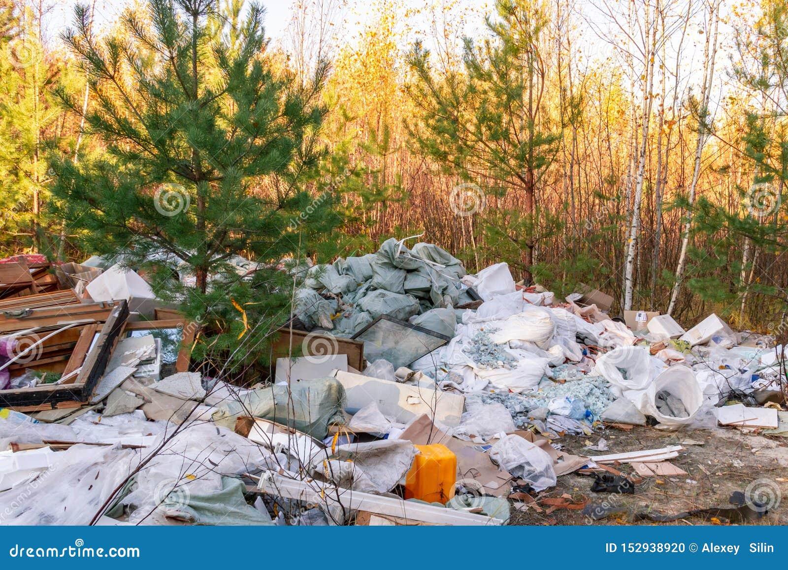 垃圾堆在森林里