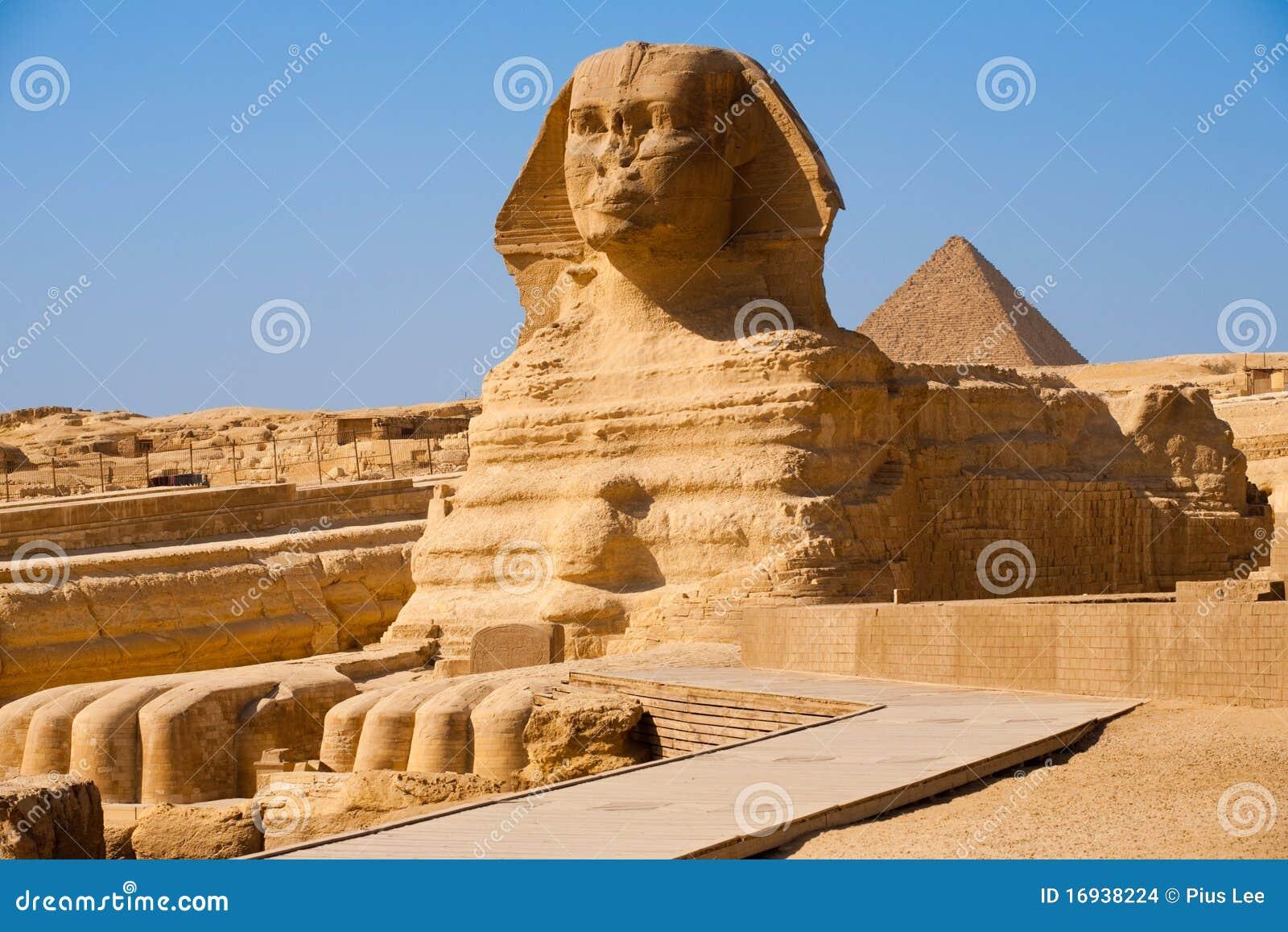 埃及充分的吉萨棉配置文件金字塔狮&#