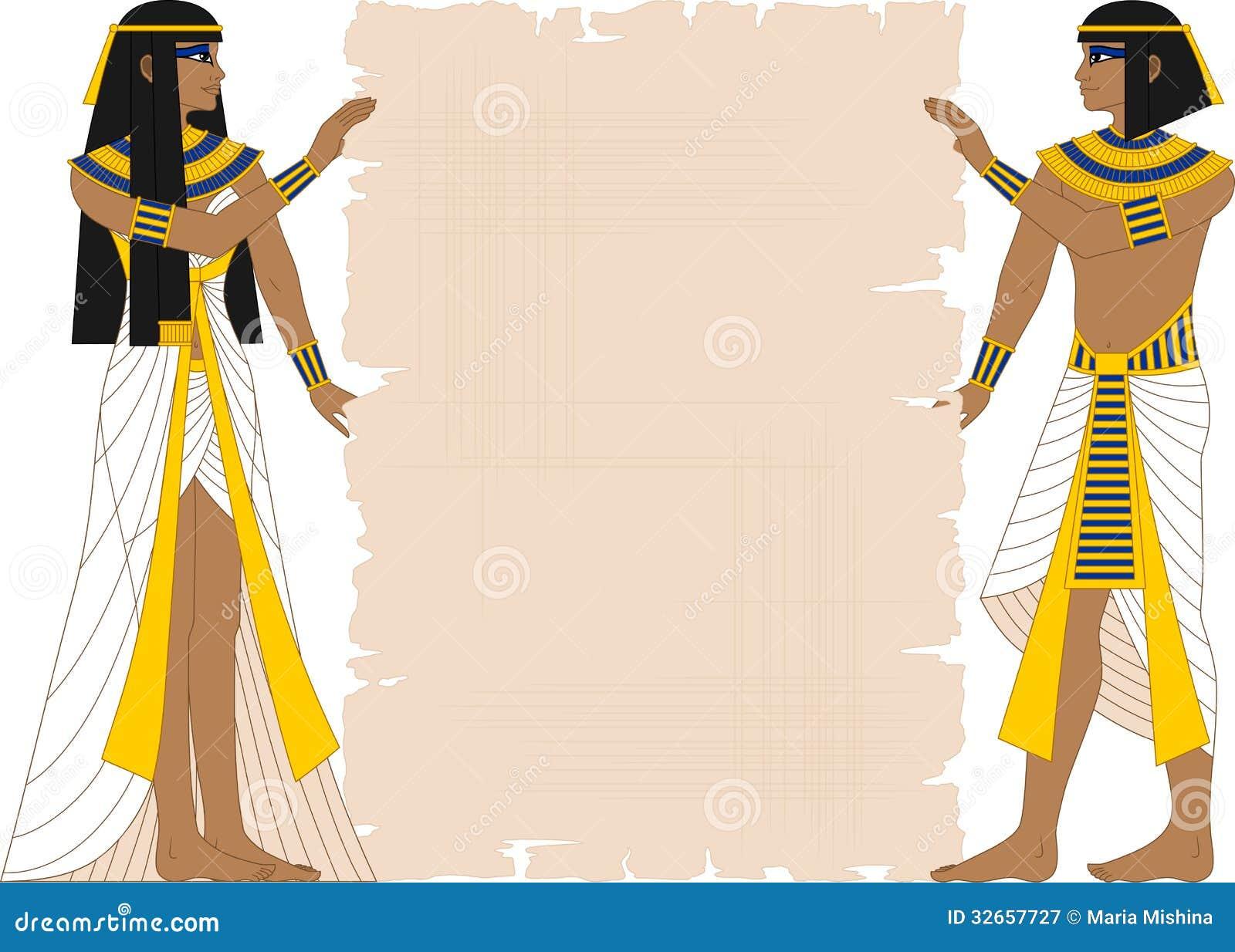 埃及拿着纸莎草的妇女和人