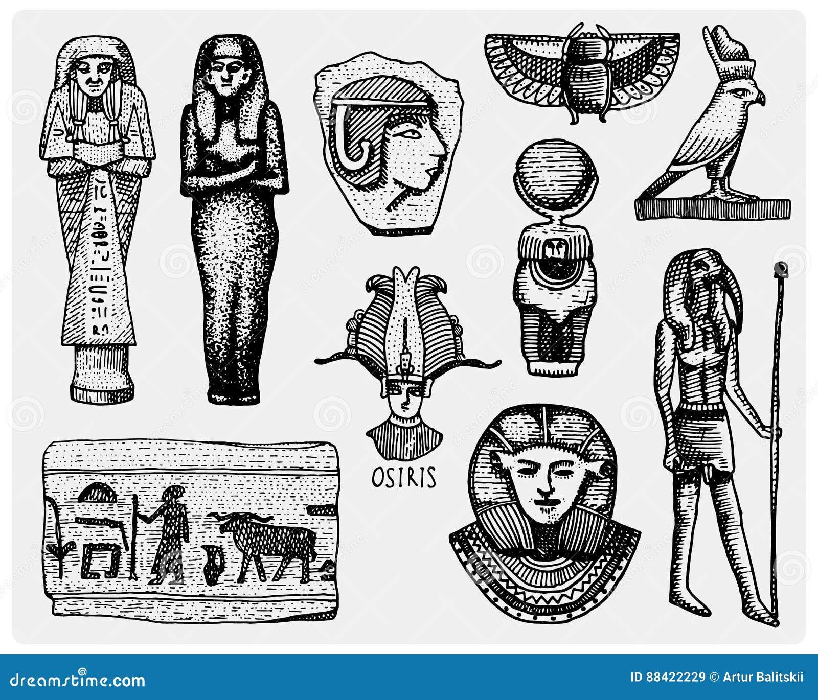 埃及标志、pharaon、scorob、象形文字和osiris在剪影或木头裁减朝向,神葡萄酒,被刻记手拉