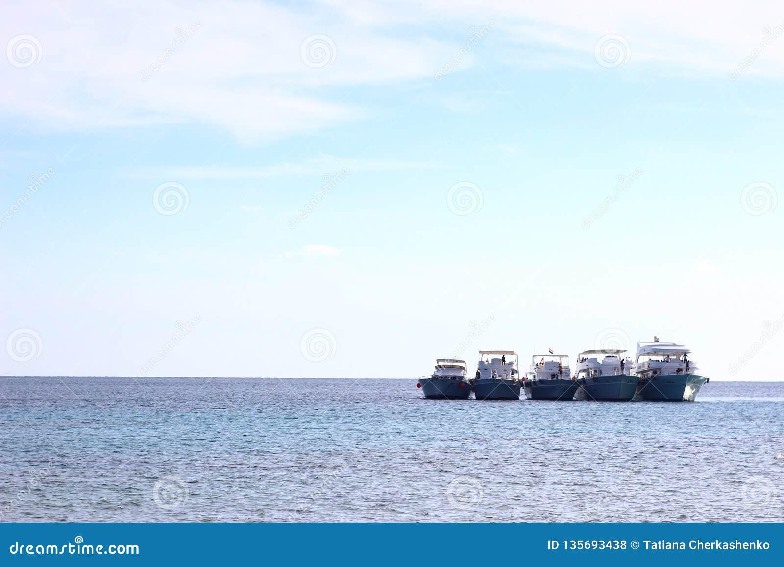 埃及横向 在天际的四艘船