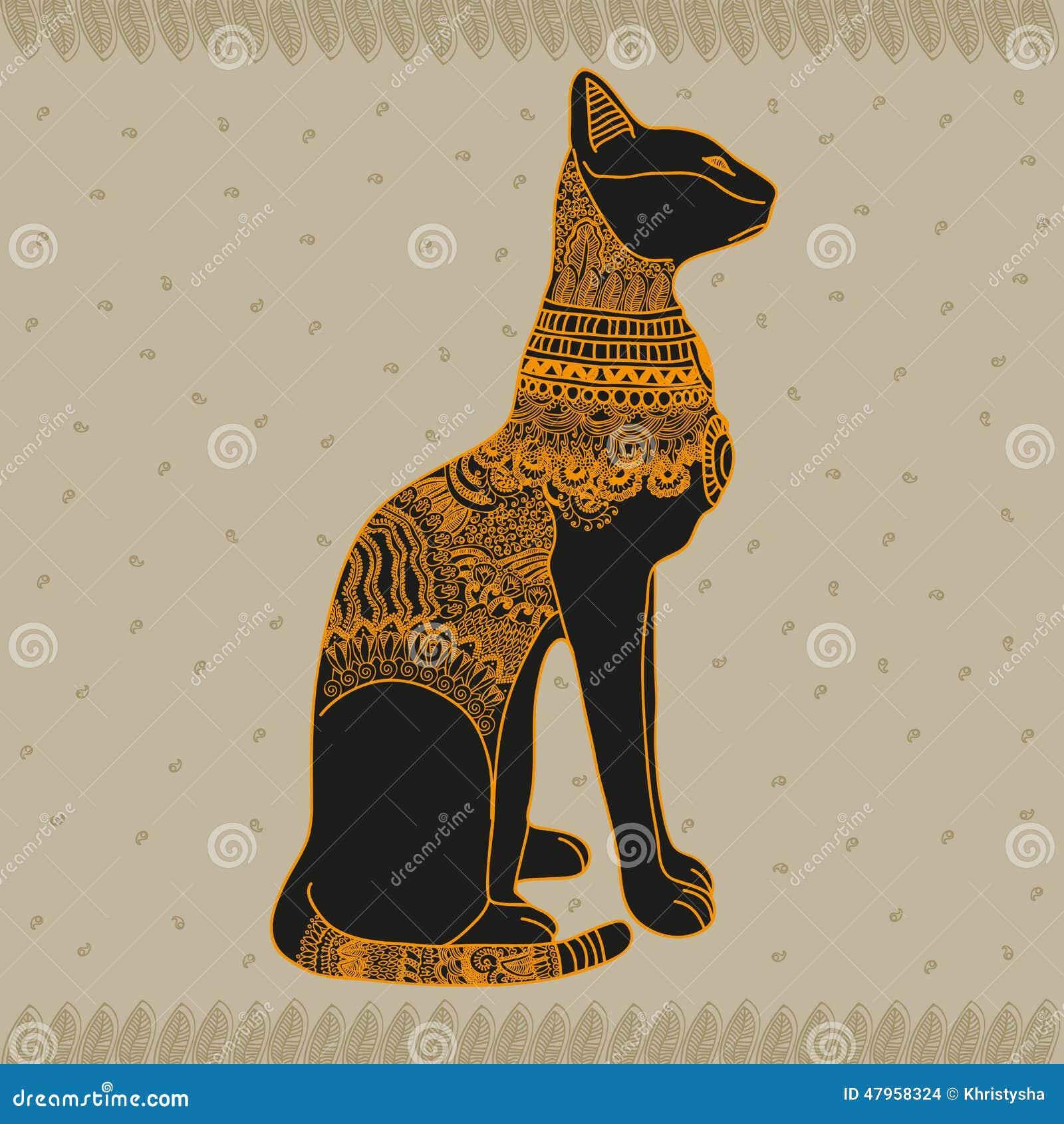 埃及猫向量图形例证设计艺术.