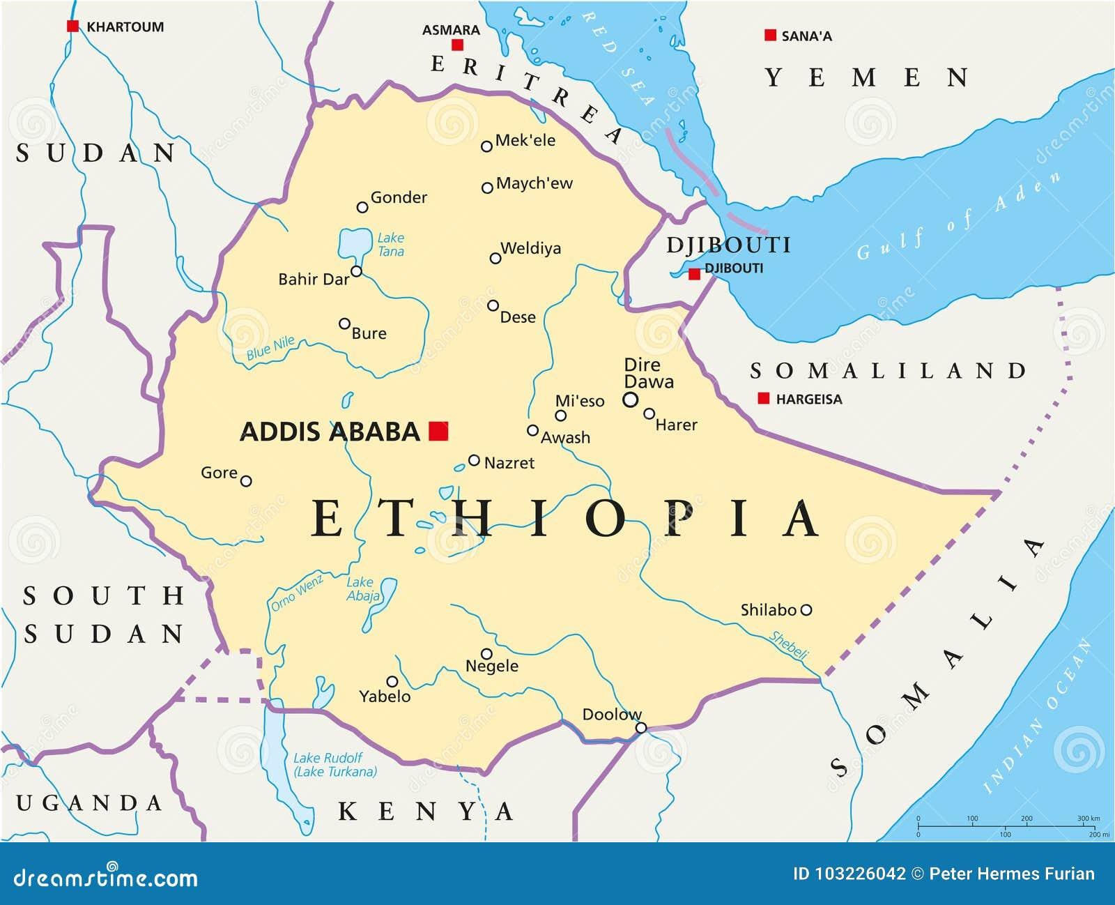 埃塞俄比亚政治地图