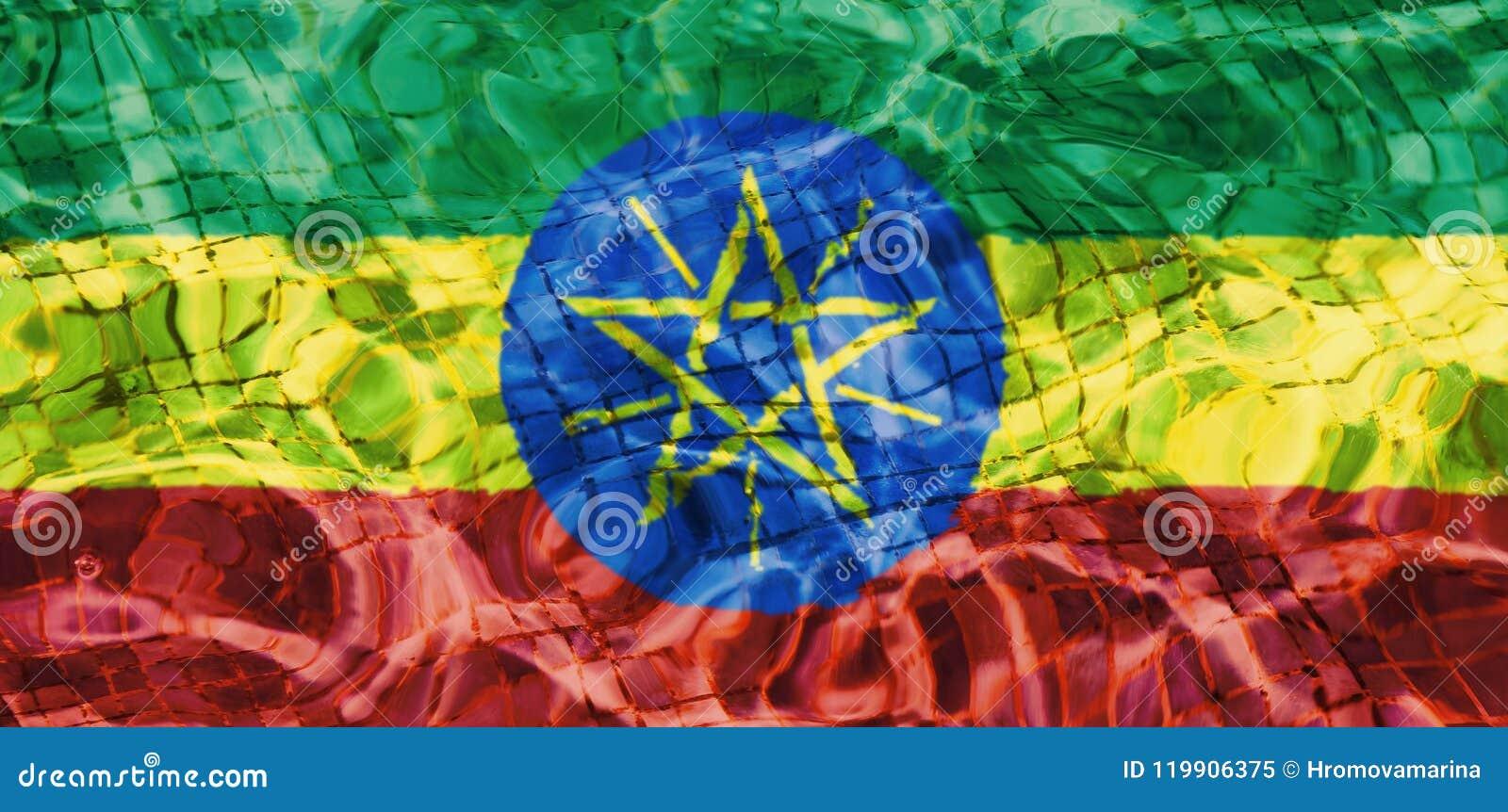 埃塞俄比亚的旗子的纹理