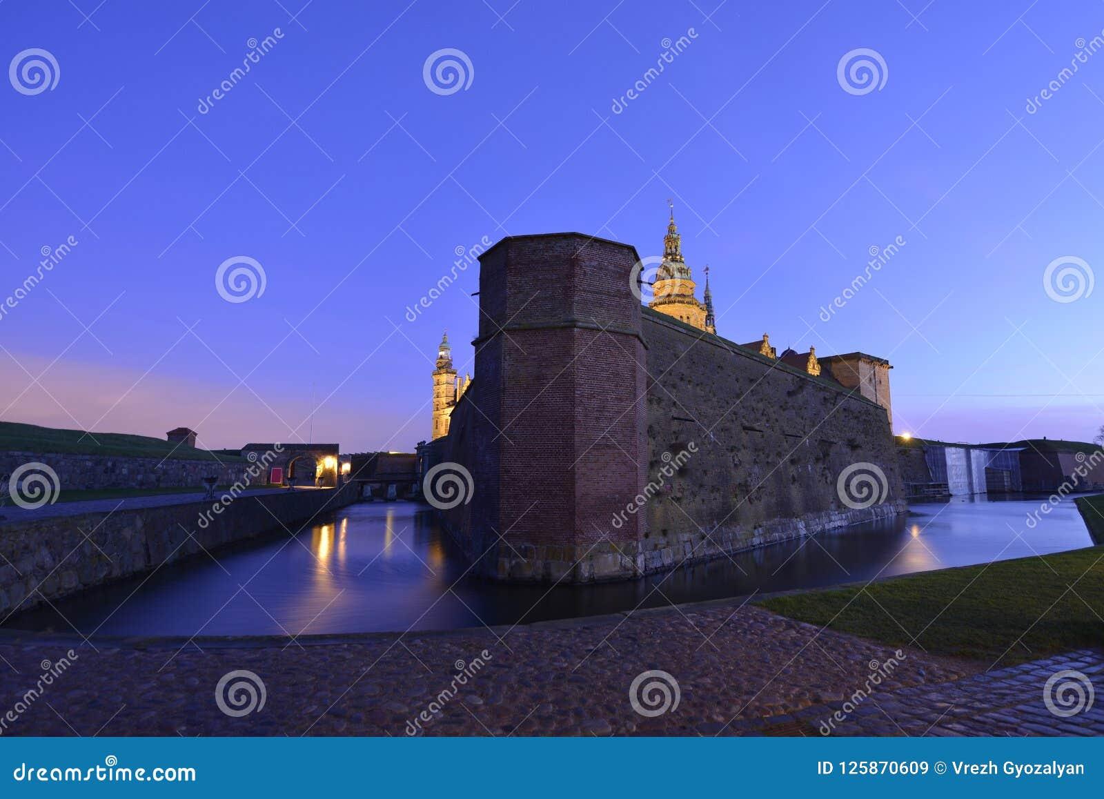 城堡丹麦小村庄赫尔新哥kronborg传奇安排