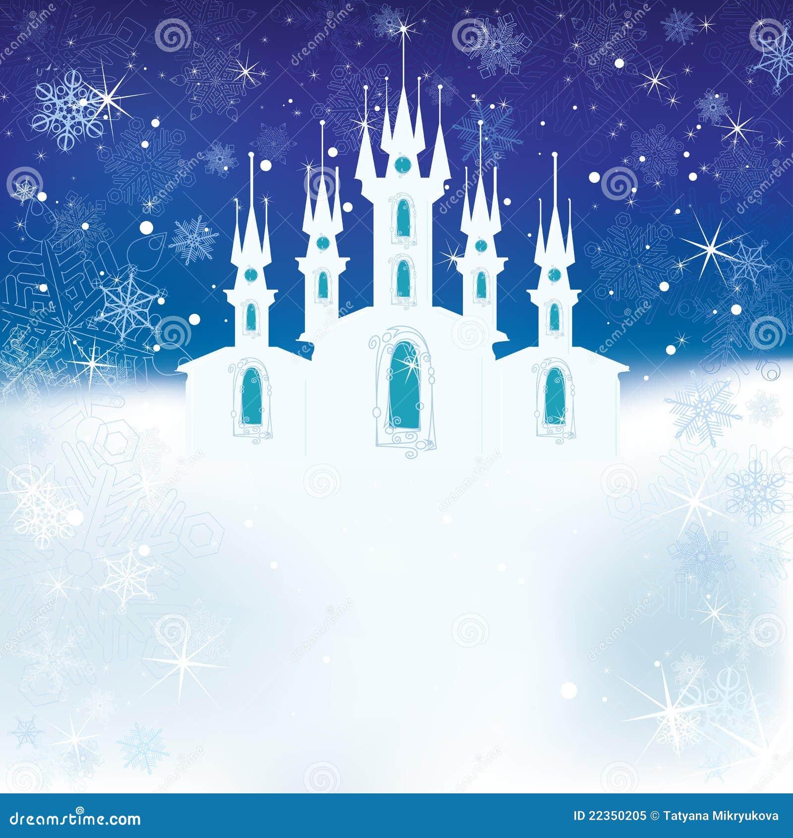 城堡冰场面冬天