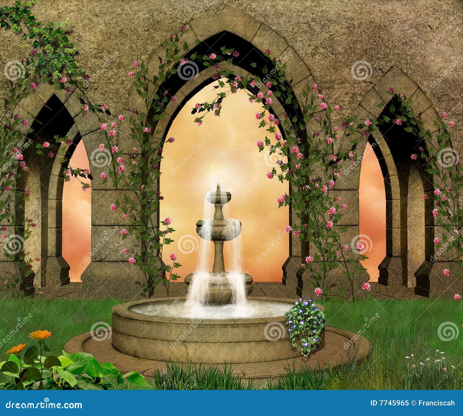 城堡美妙的庭院
