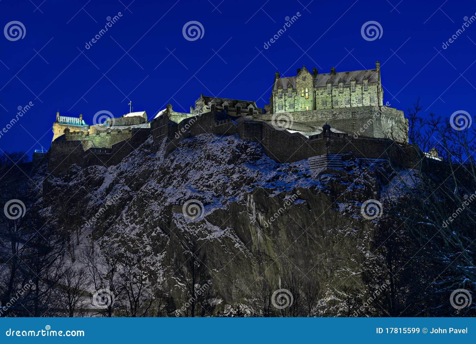 城堡黄昏爱丁堡苏格兰英国冬天