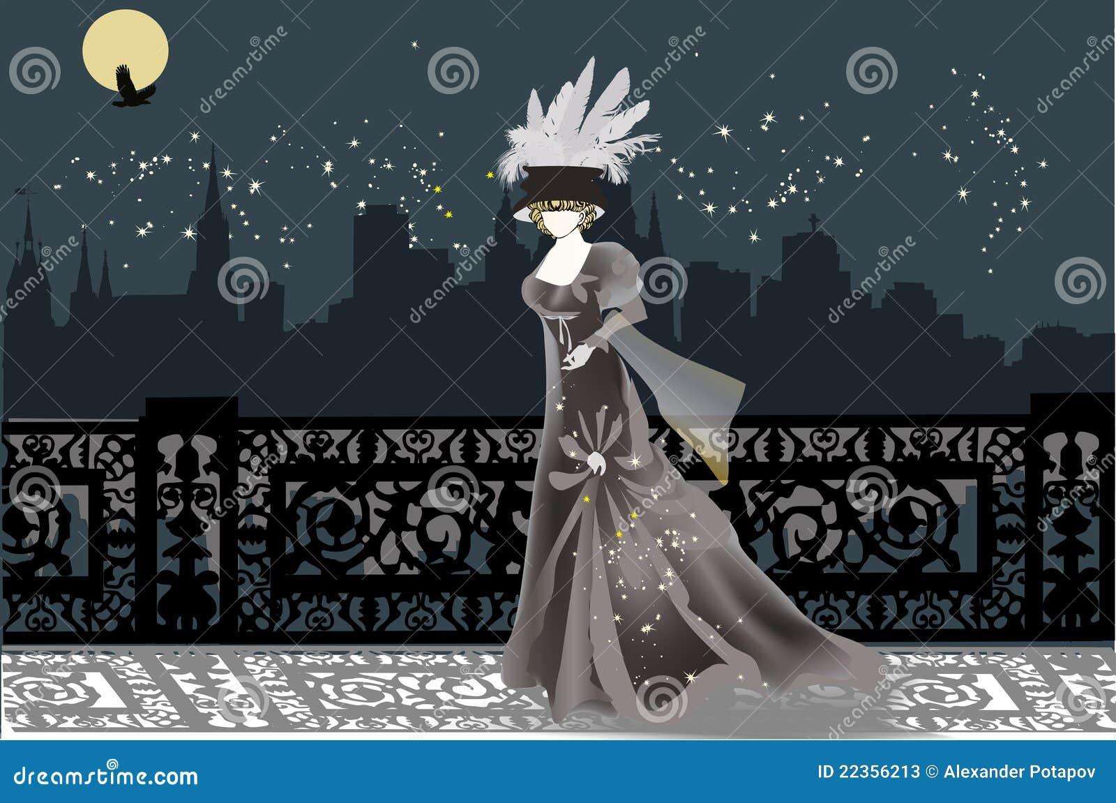 城市例证晚上单身妇女