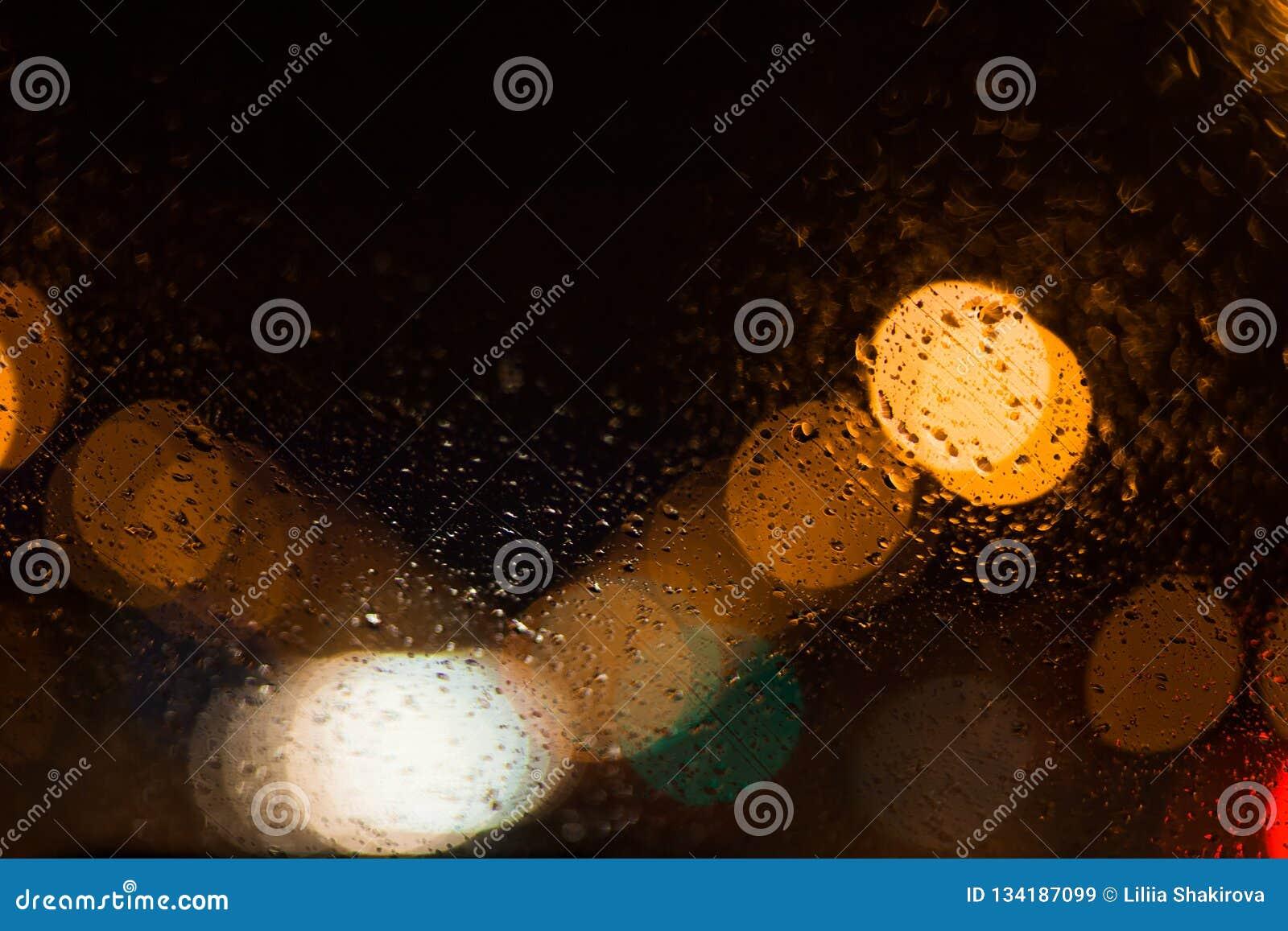 城市光提取与下落的圆bokeh
