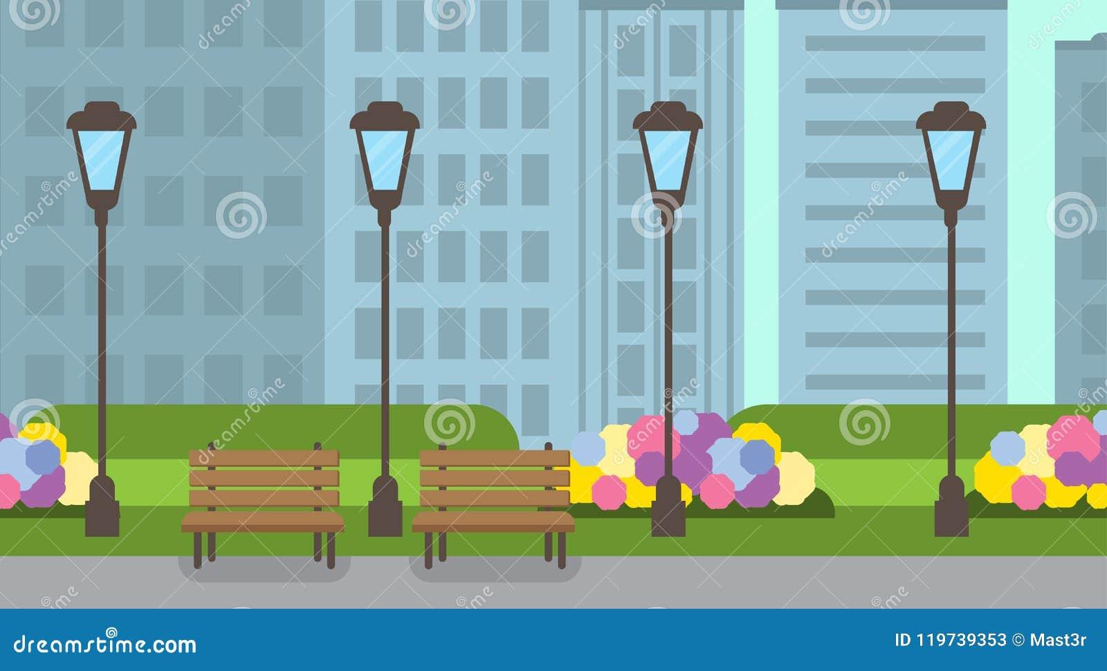城市公园长木凳街灯绿色草坪开花模板都市风景背景平的横幅