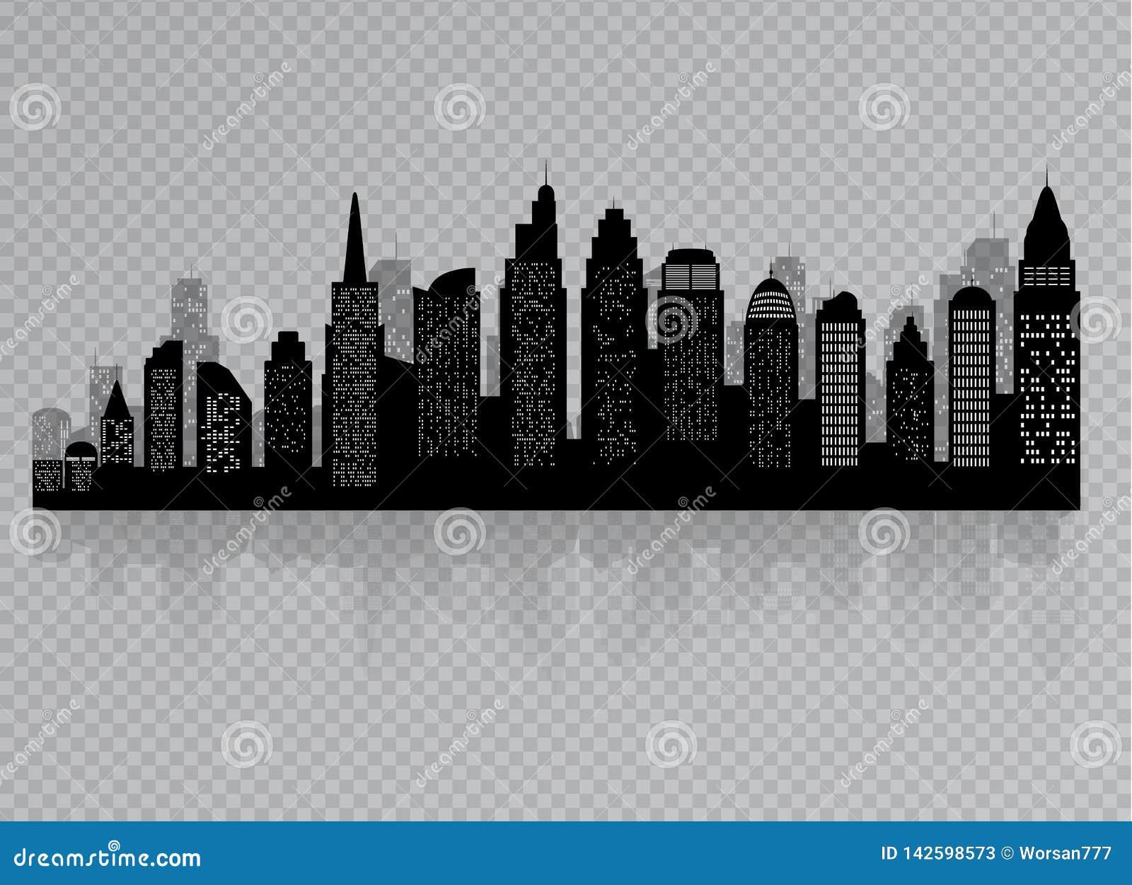 城市剪影有黑色的在一个平的样式的白色背景 E