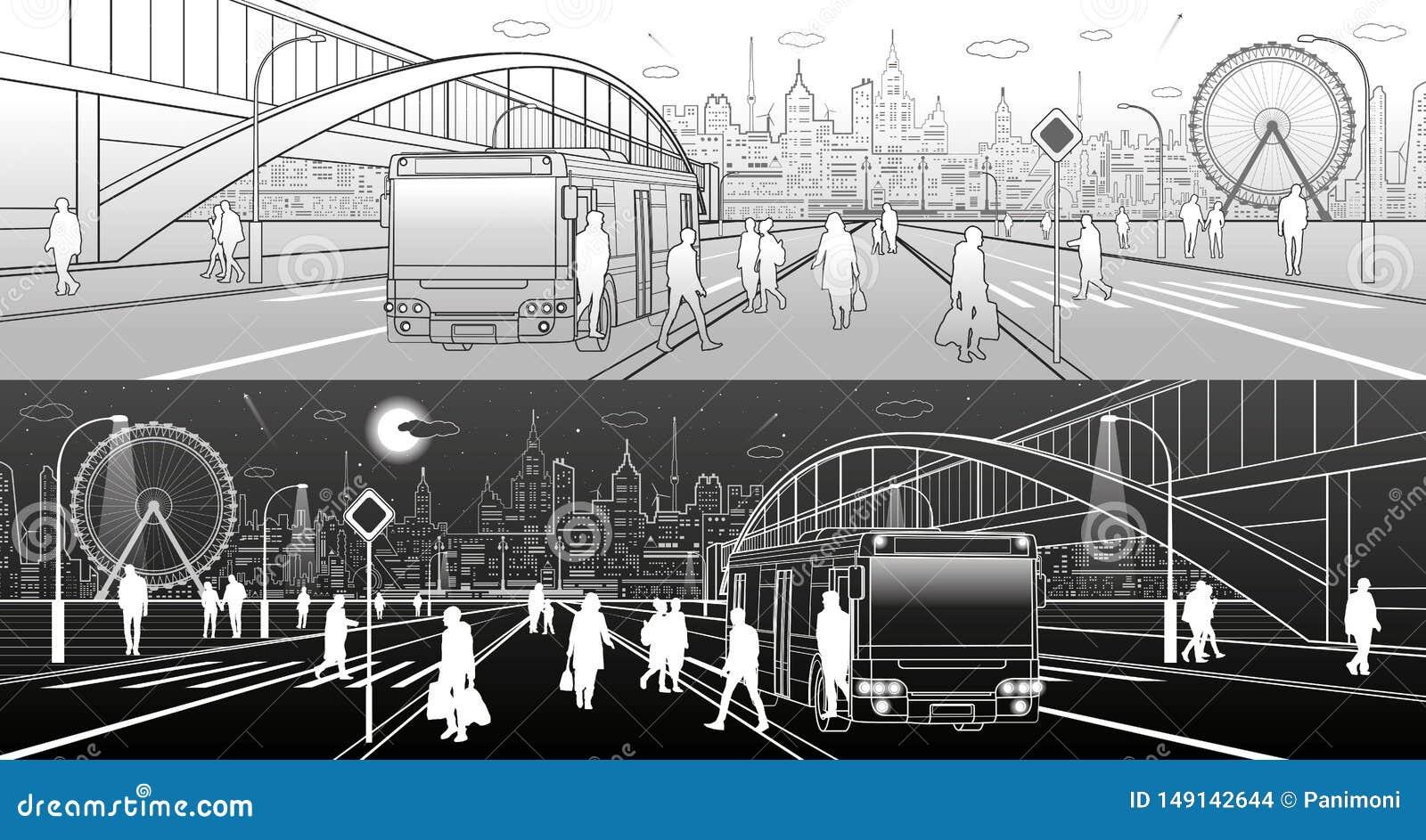 城市场面,在街道下的人步行,乘客留下公共汽车,夜城市,有启发性高速公路,在ba的过渡曲拱桥梁