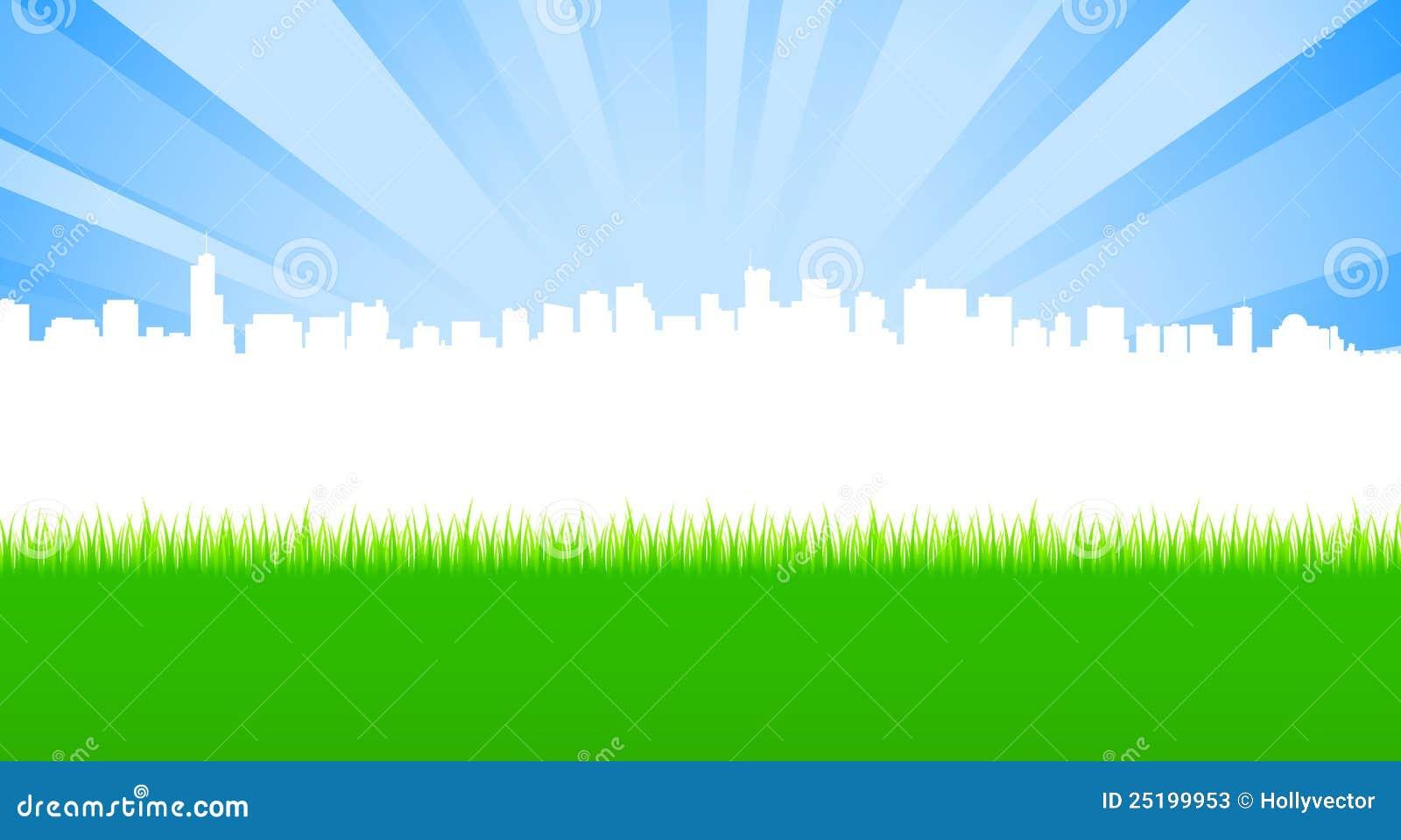 城市干净的绿色草甸