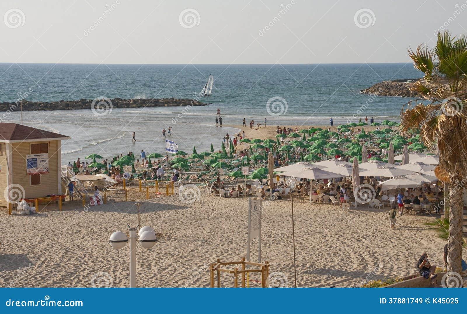 城市海滩在特拉唯夫以色列