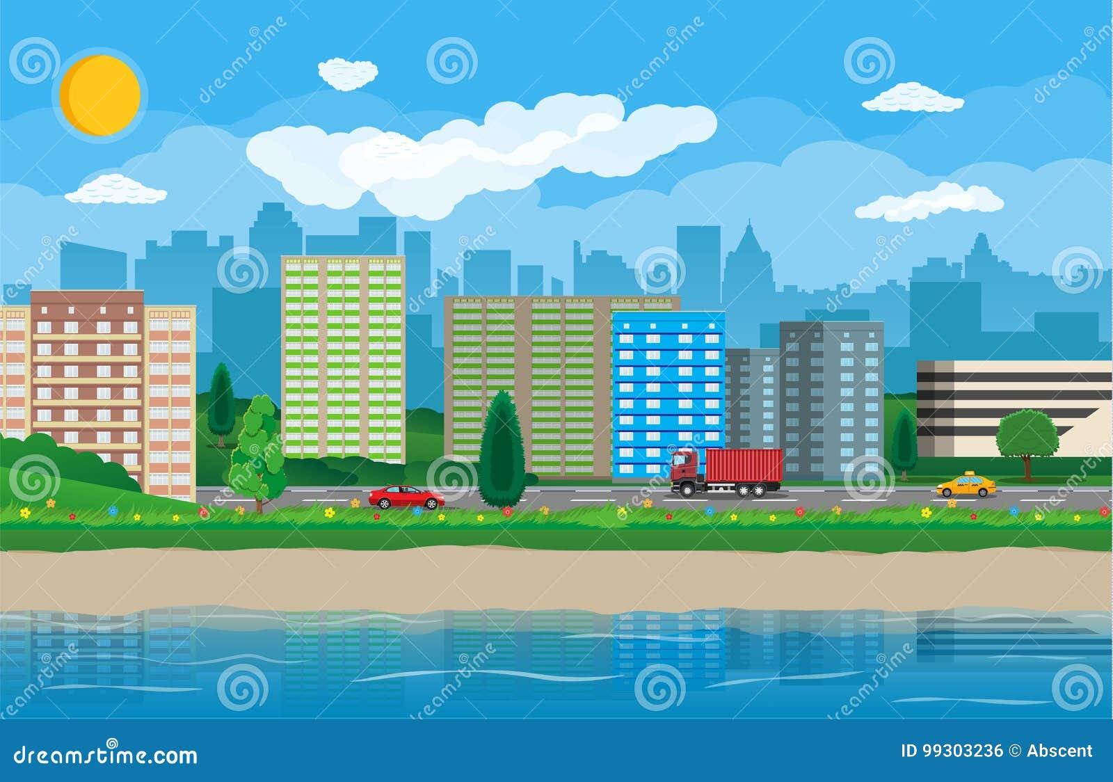 城市现代视图 江边,河,堤防