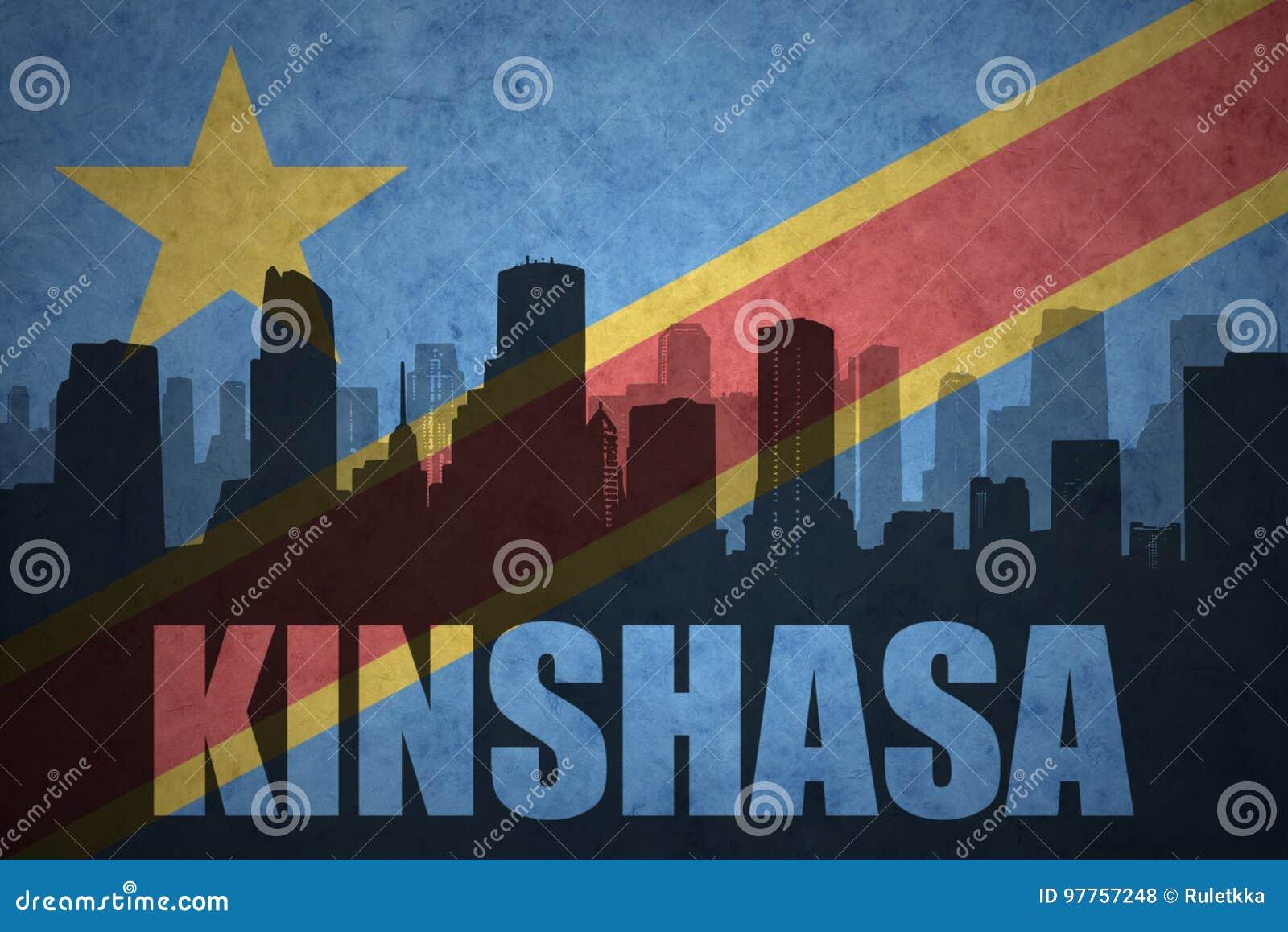 城市的抽象剪影有文本的金沙萨在葡萄酒刚果民主共和国旗子