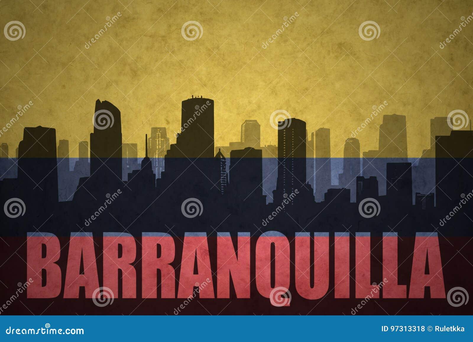 城市的抽象剪影有文本的巴兰基利亚在葡萄酒哥伦比亚的旗子