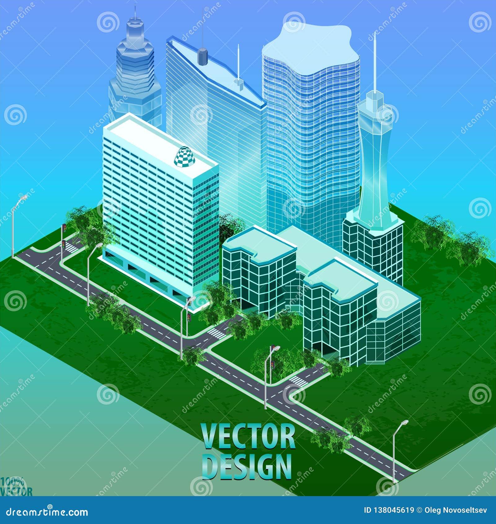 城市的Megapolis 3d等量三维视图 房子、摩天大楼、大厦,被修建和超级市场的汇集