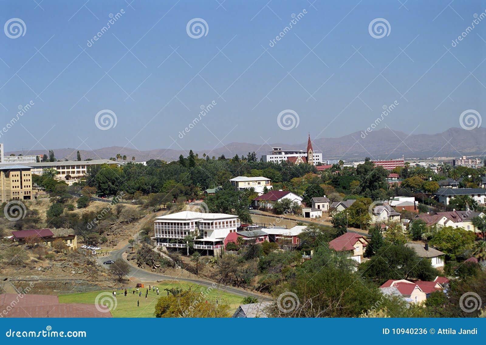 城市纳米比亚视图温得和克