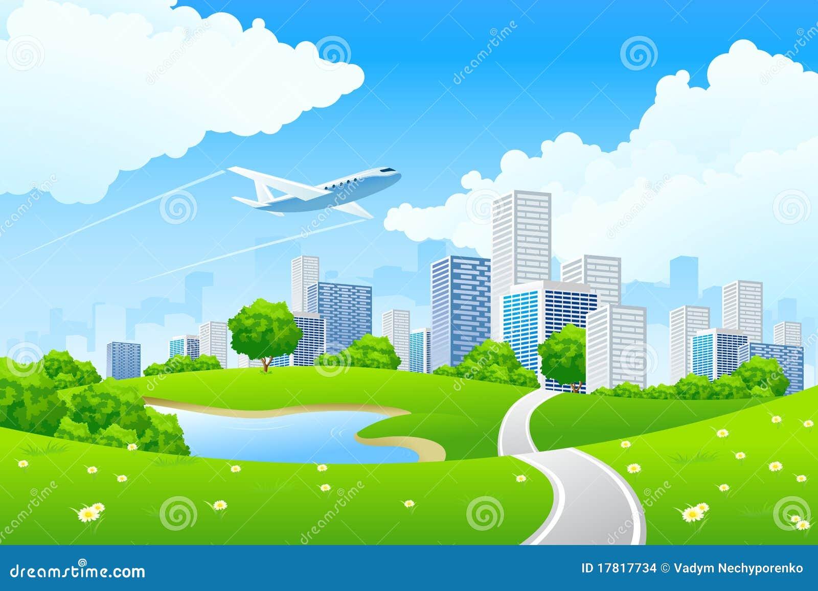 城市绿色横向