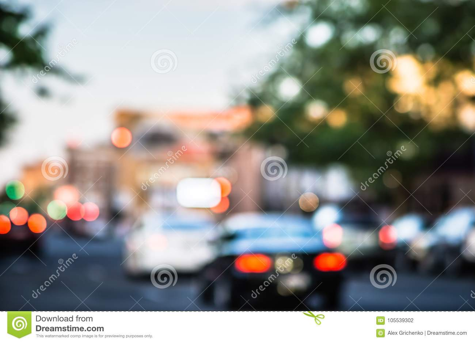 城市街道模糊的软的焦点在斯波肯华盛顿