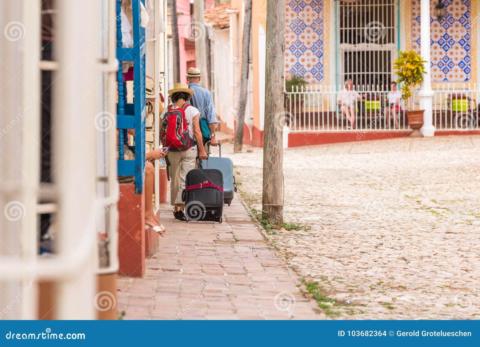 城市街道的看法,特立尼达,圣斯皮里图斯市,古巴 复制文本的空间