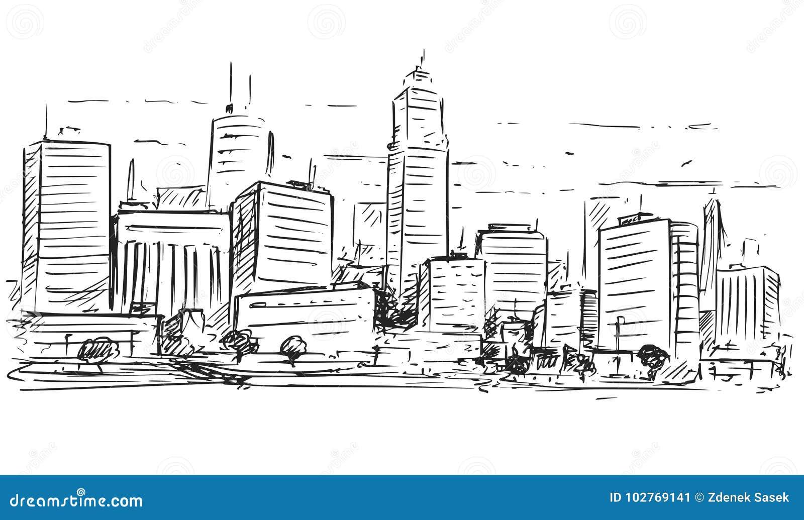 城市高层风景概略图画
