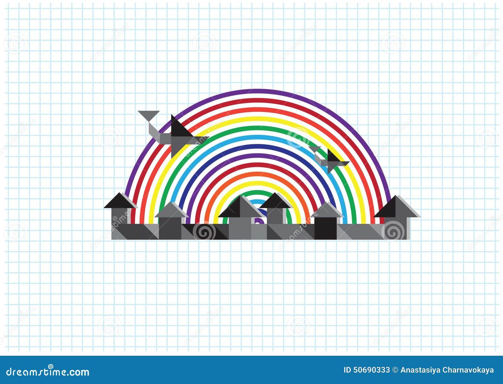 Download 城市,彩虹,飞机 向量例证. 插画 包括有 黎明, 国界的, 乡下, 节假日, grunge, 图标, 夜间 - 50690333