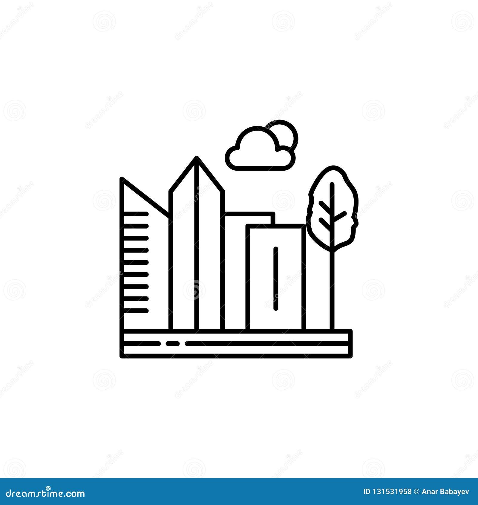城市,摩天大楼,大厦,树概述象 风景例证的元素 标志和标志概述象可以使用为