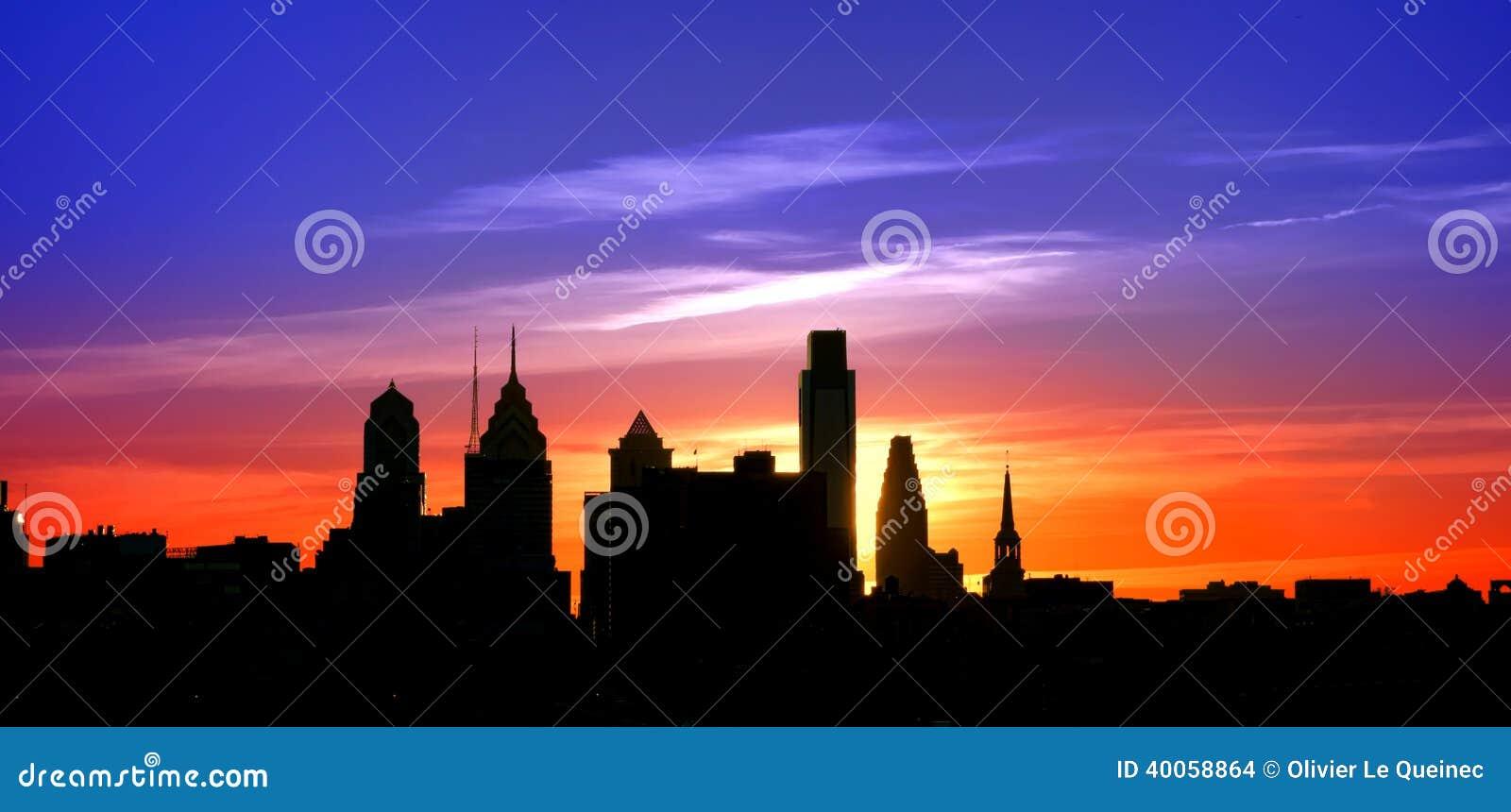 费城耶路撒冷旧城剪影都市风景日落