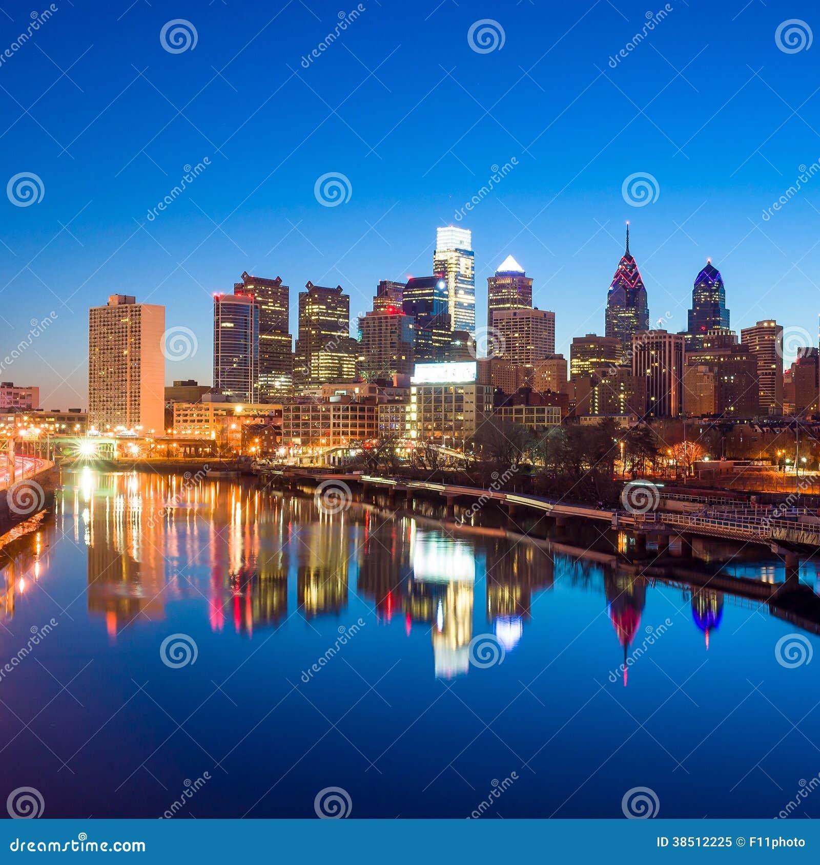费城,宾夕法尼亚街市地平线。