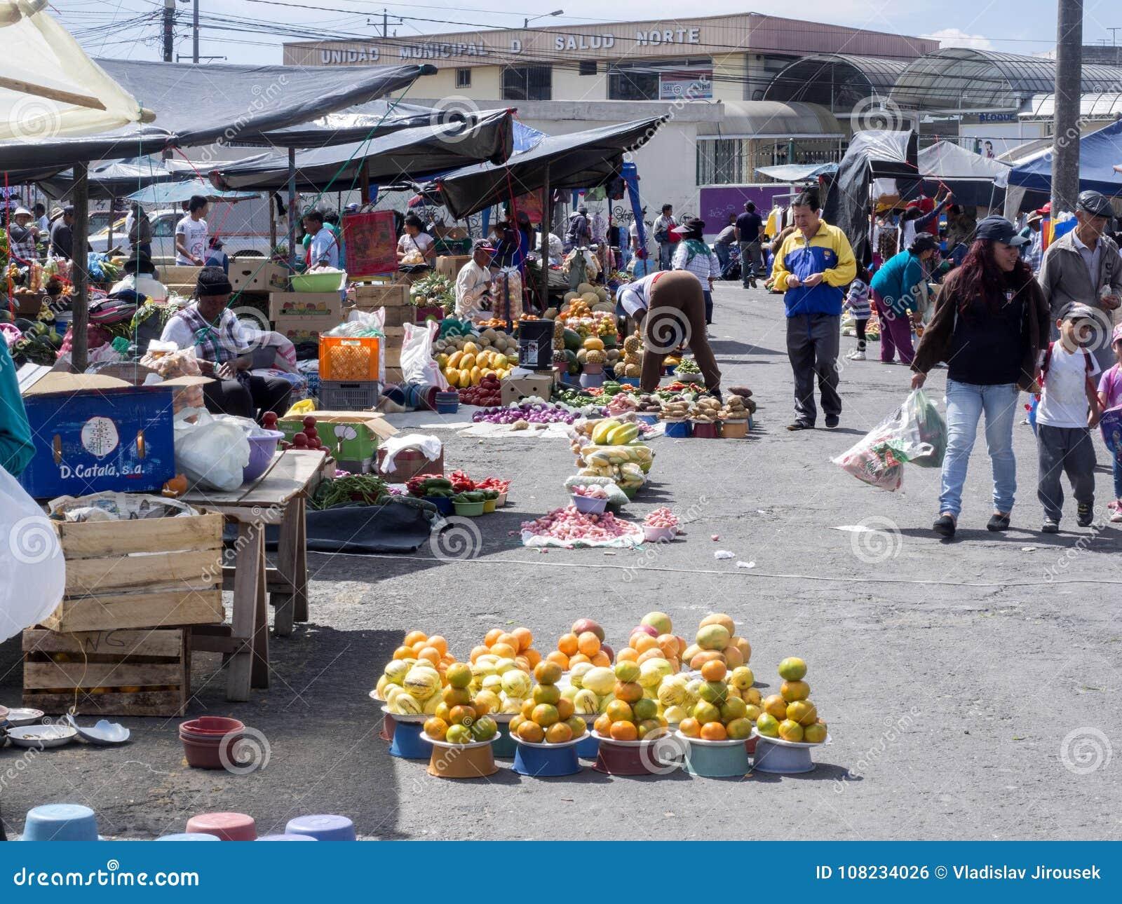基多、EQUADOR - 2017年12月07日,果子富有的提议,菜和肉,基多市场, 2017年12月07日,基多,厄瓜多尔