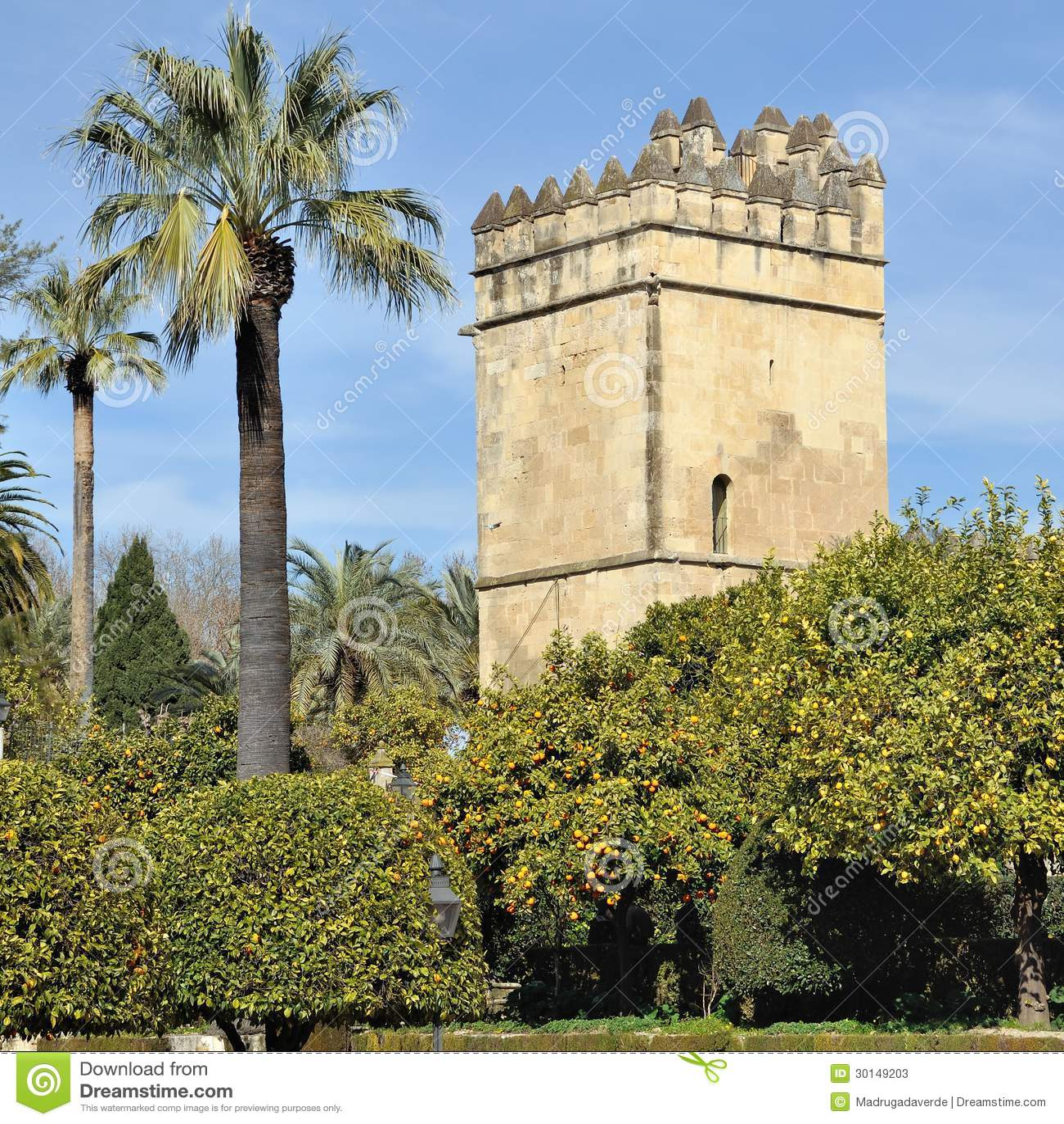 城堡宫殿庭院在科多巴,西班牙
