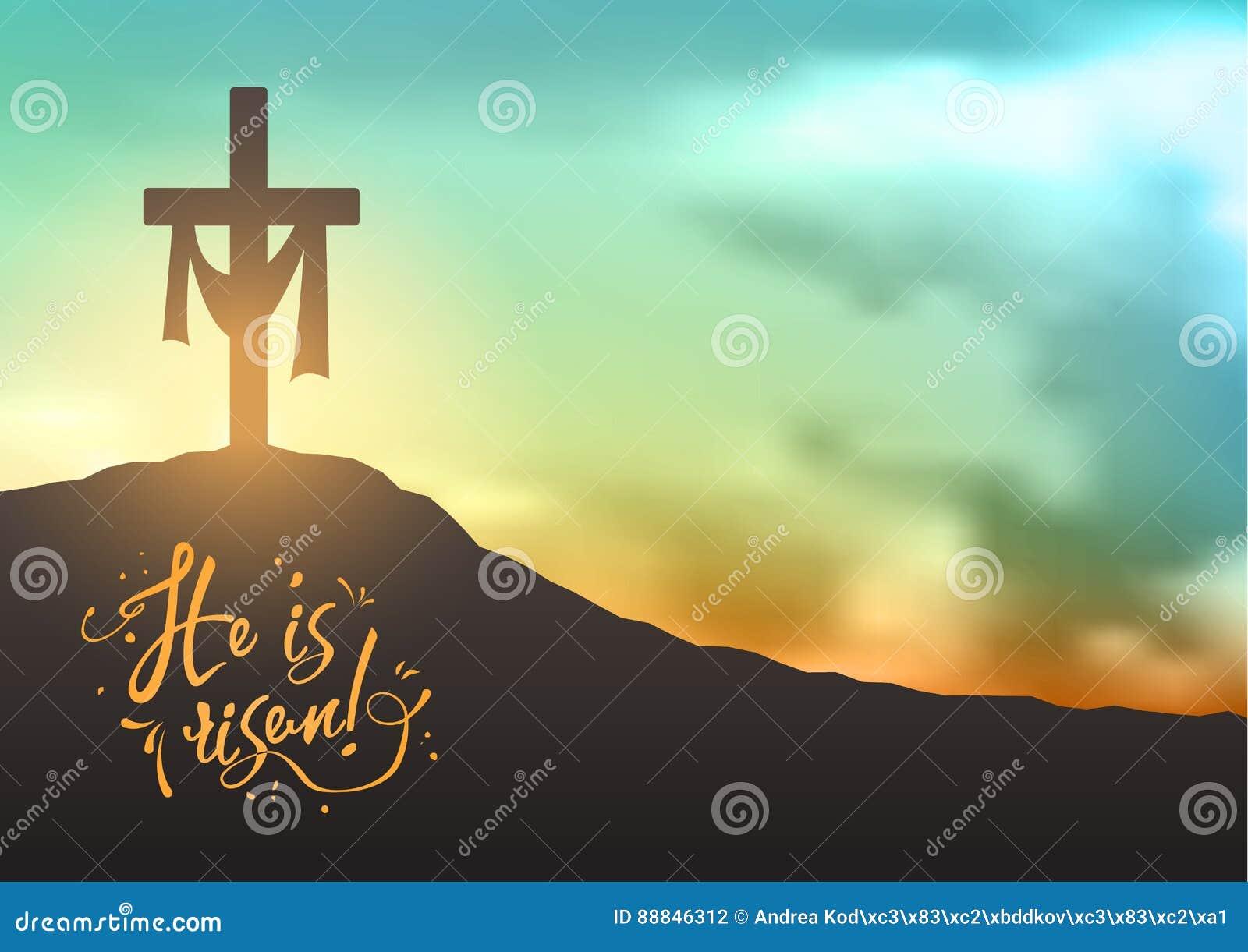 基督徒复活节场面,救主在剧烈的日出场面的` s十字架,与文本他上升,例证