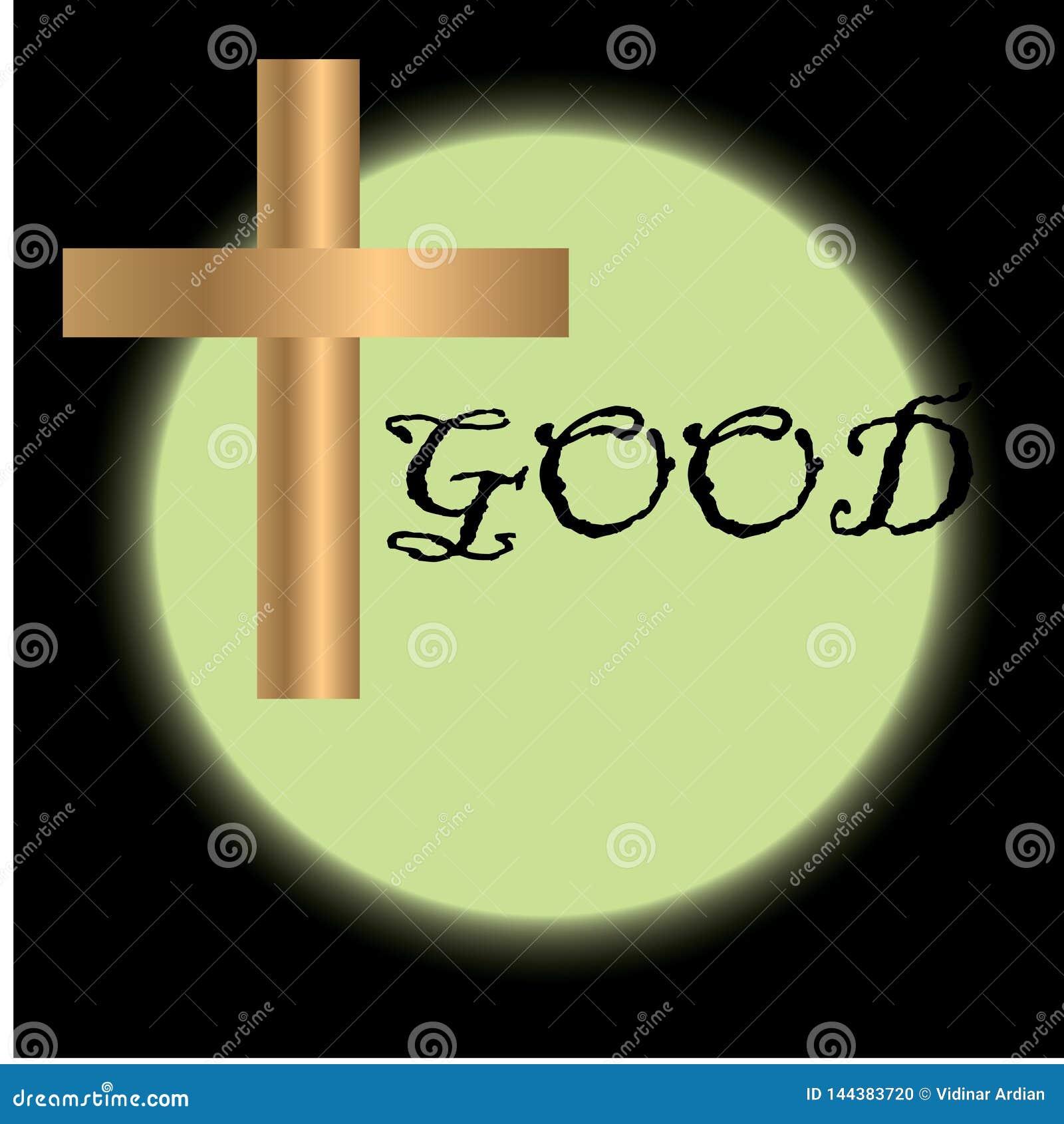 基督徒宗教场合的基督受难日例证与十字架 能为背景,问候,横幅使用,