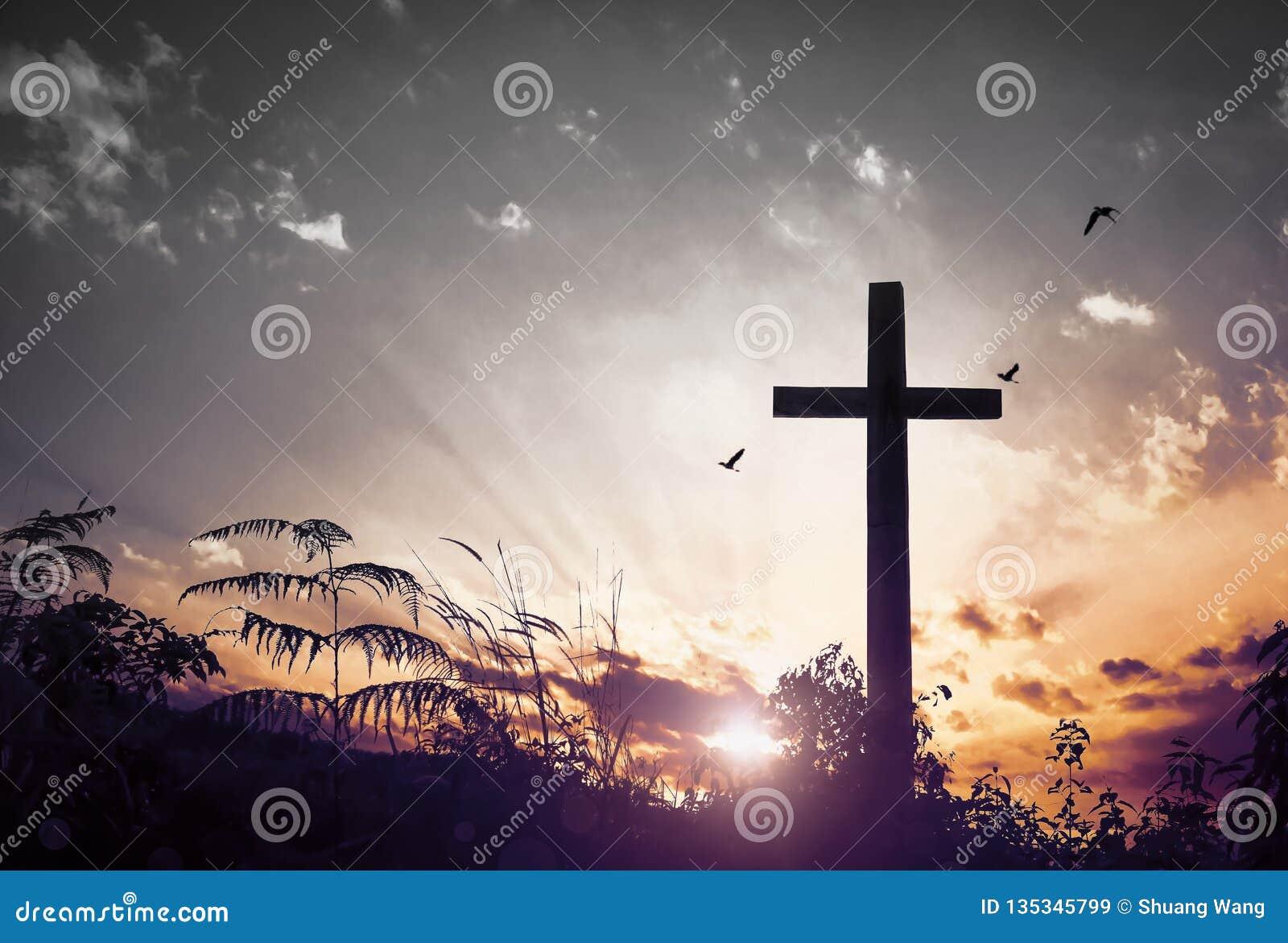 基督耶稣概念:十字架在日出的早晨