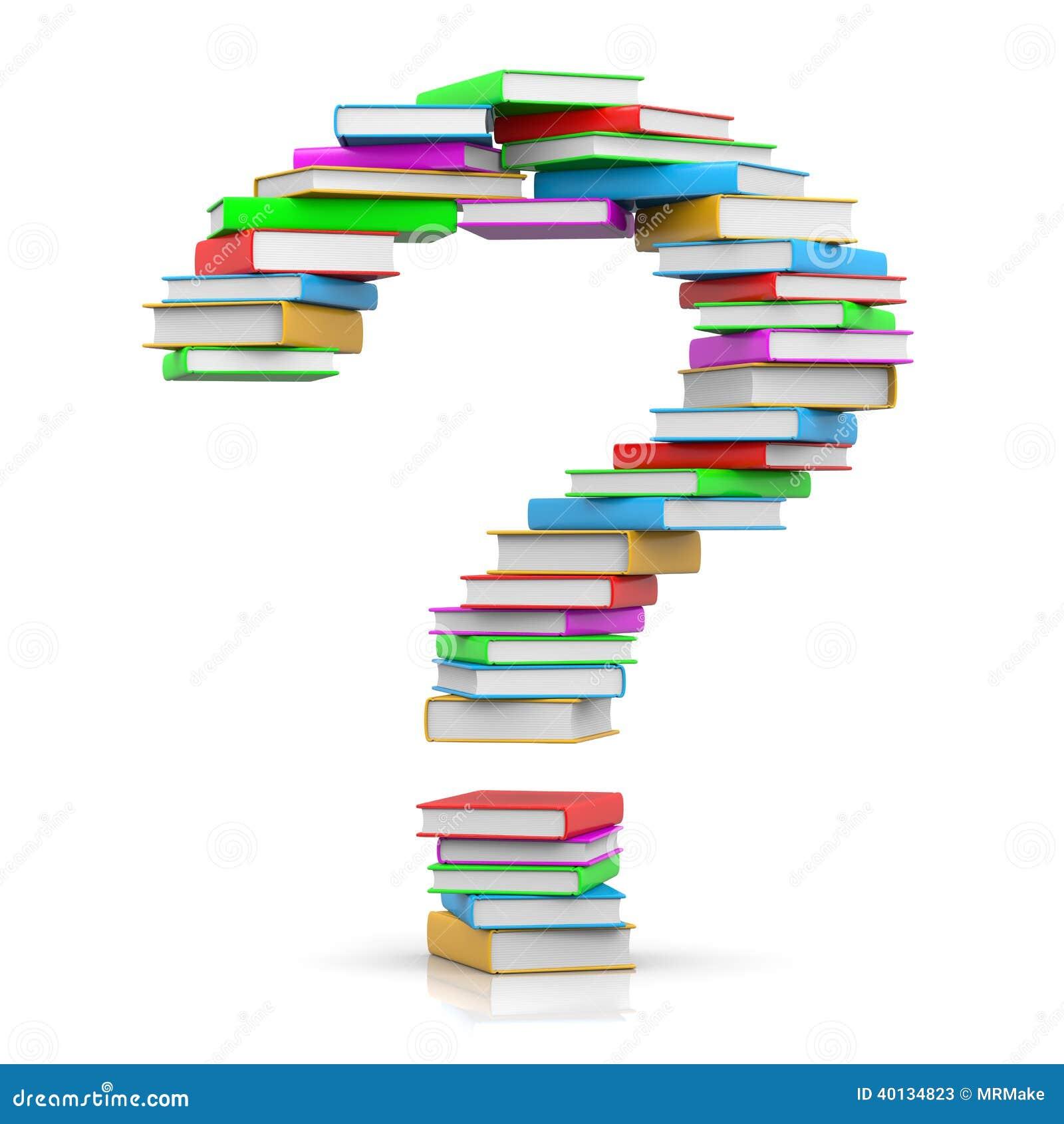 堆以问号的形式色的书在白色背景.