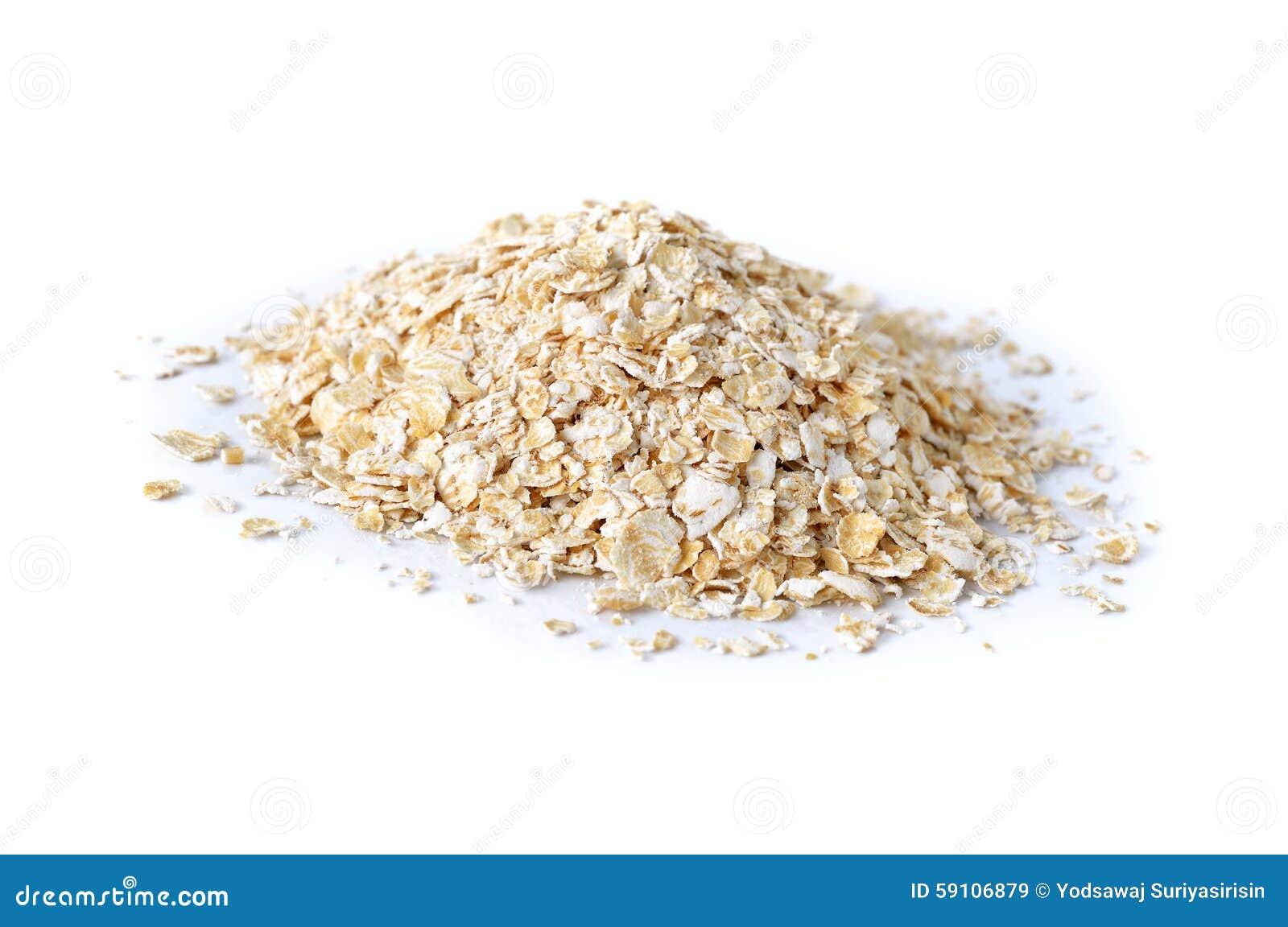 堆在白色的立即燕麦粥