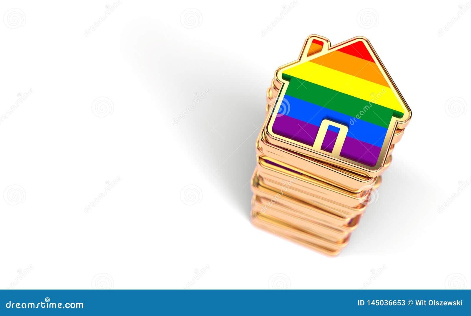 堆家上色与彩虹旗子作为快乐夫妇的增加决定在一起生活 r