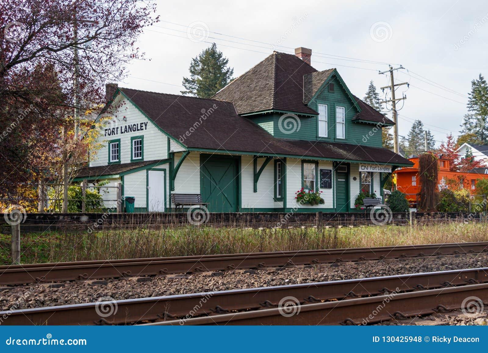 堡垒兰利,加拿大-大约2018年-堡垒兰利CN火车站
