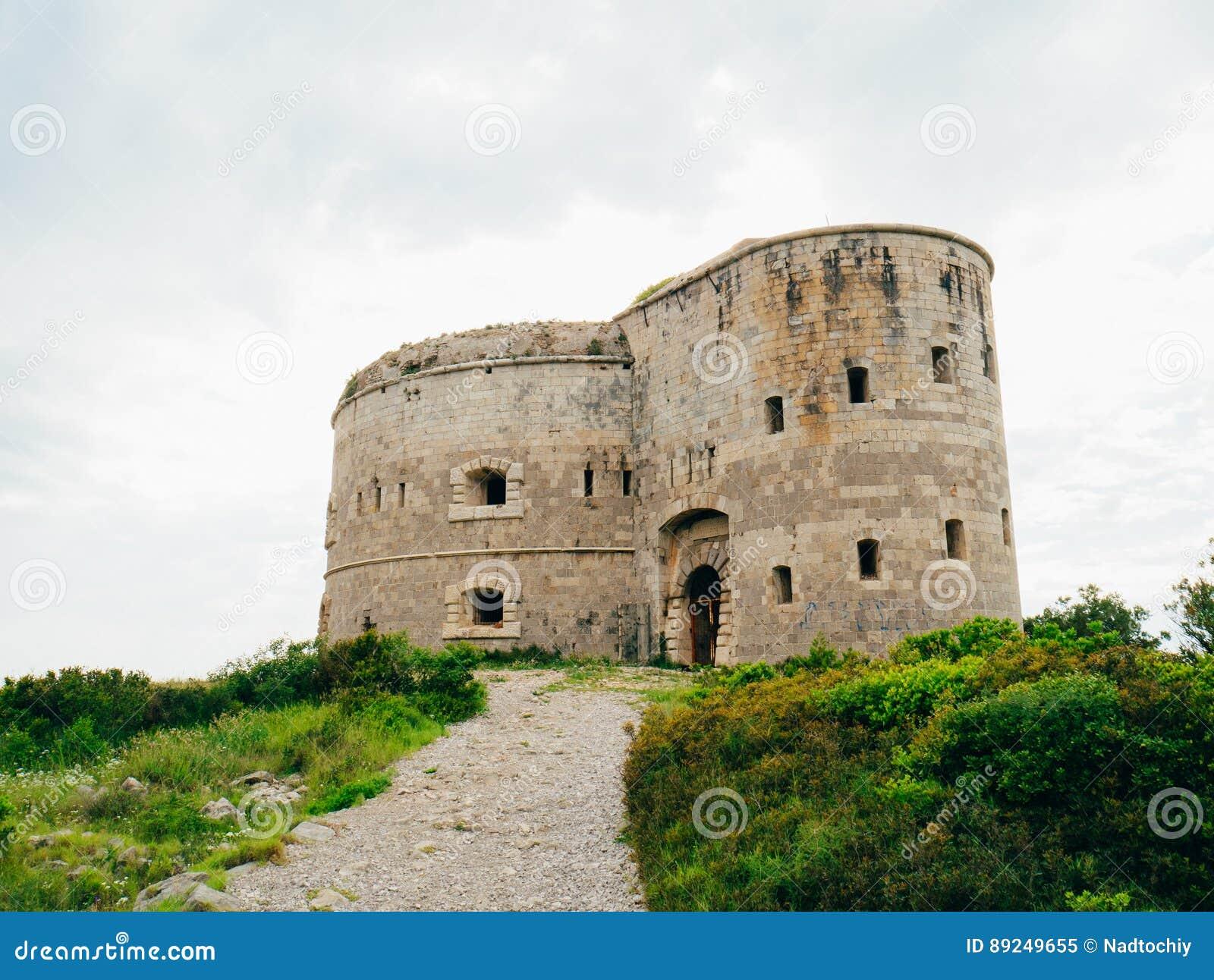 堡垒阿扎镇在黑山,在Mamula附近海岛在Adriat的
