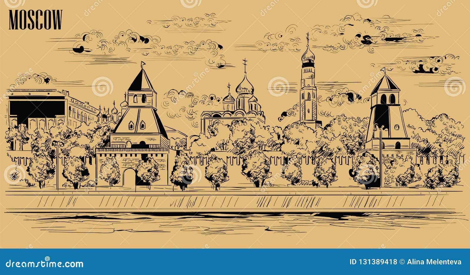 堤防克里姆林宫塔和莫斯科河红场,莫斯科,俄罗斯都市风景隔绝了传染媒介手图画例证